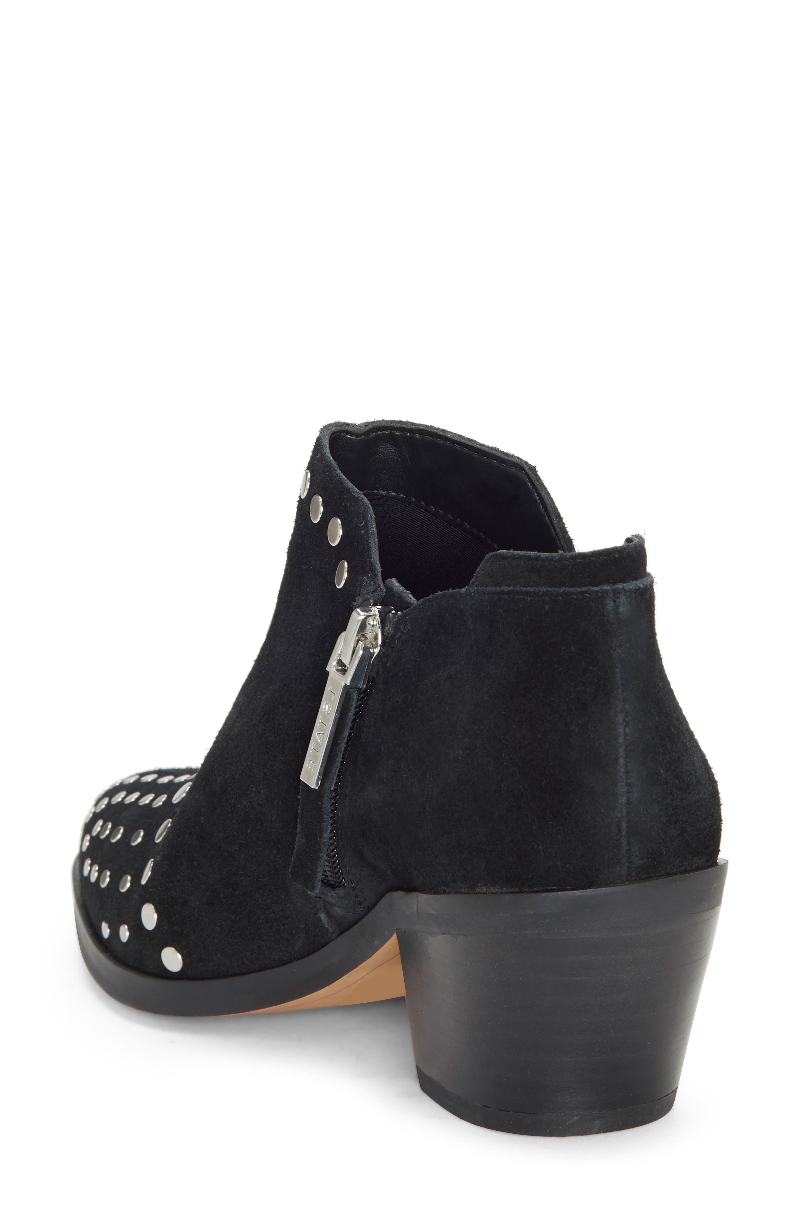 1.STATE, Loka Studded Bootie, Alternate thumbnail 2, color, BLACK SUEDE