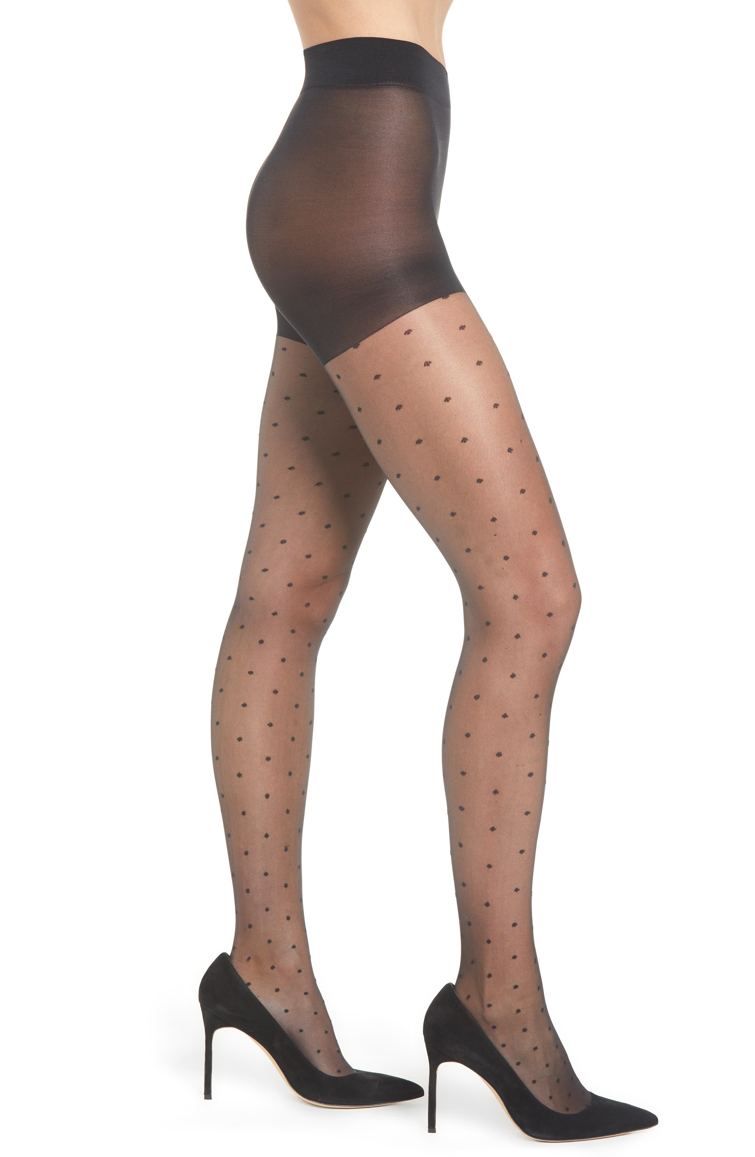 NORDSTROM 'Sheer Dot' Control Top Pantyhose, Main, color, 001
