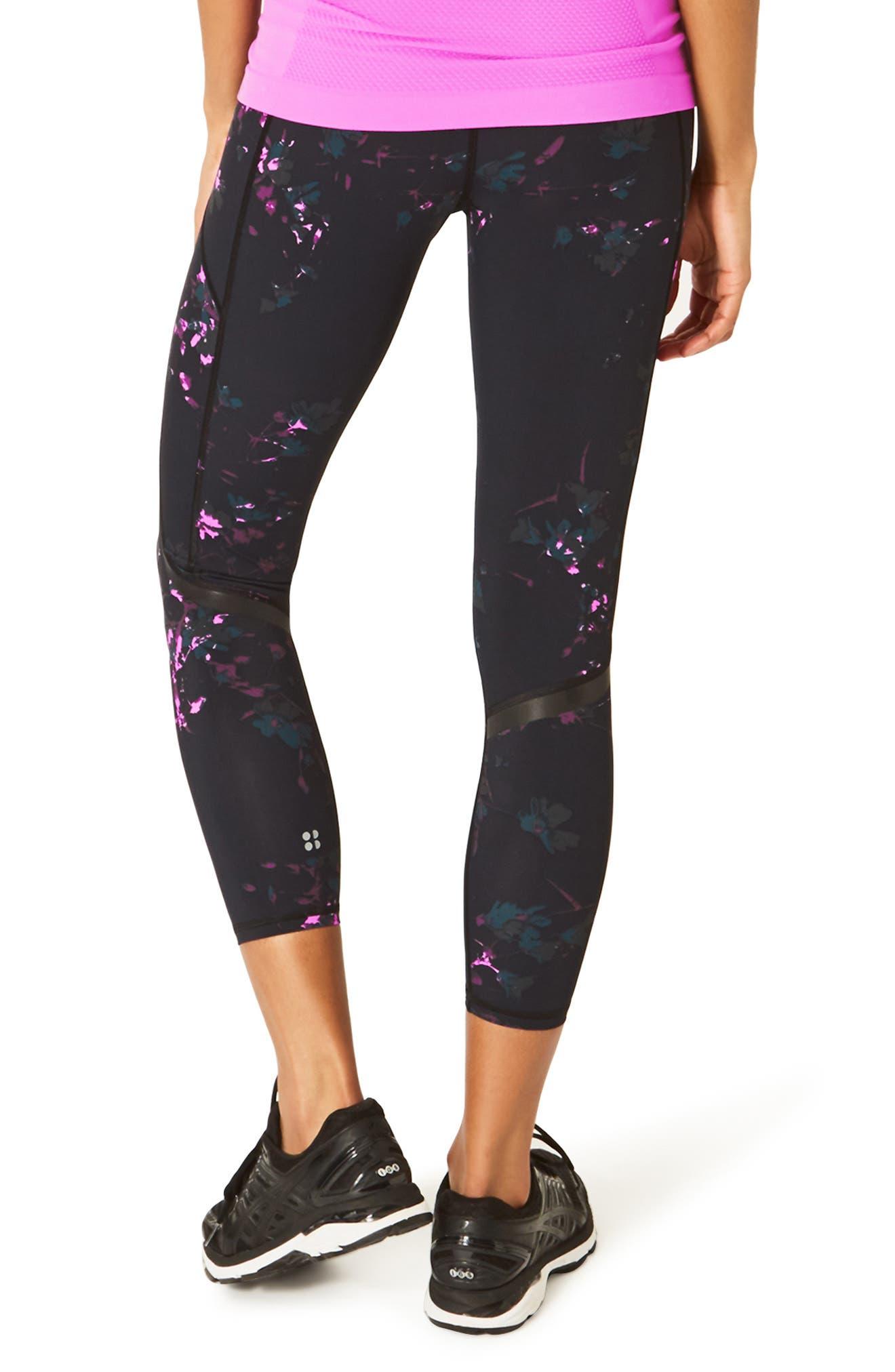 SWEATY BETTY, Zero Gravity Print Ankle Leggings, Alternate thumbnail 2, color, BLACK DAISY PRINT