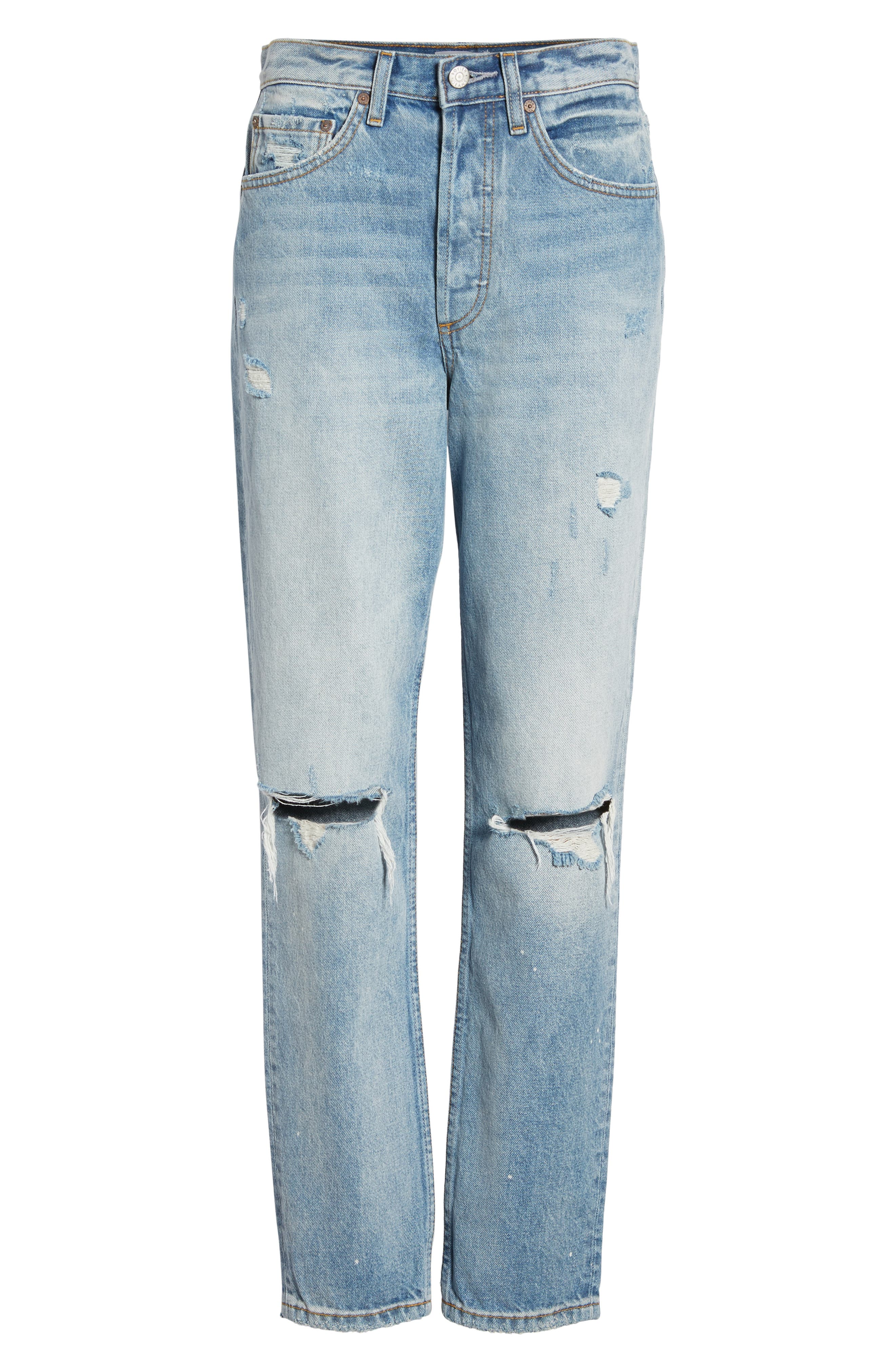 BOYISH JEANS, The Billy Ripped High Waist Ankle Skinny Jeans, Alternate thumbnail 7, color, EASY RIDER