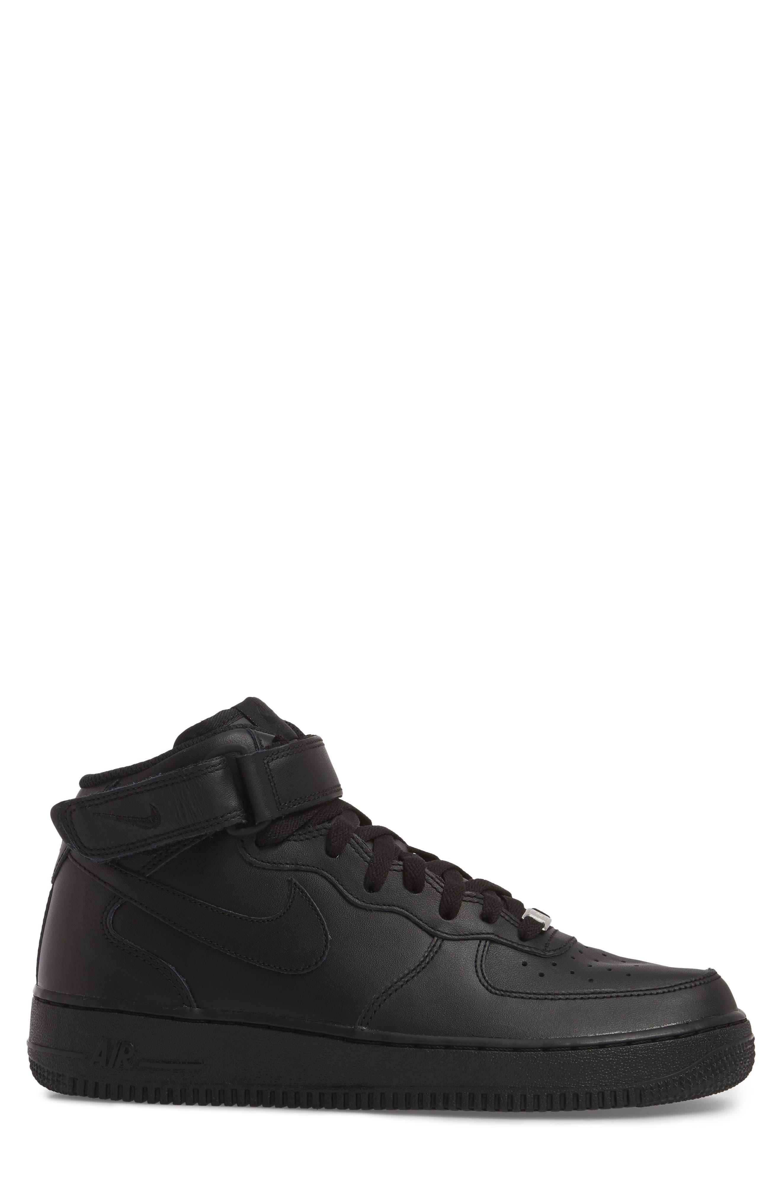 NIKE, Air Force 1 Mid '07 Sneaker, Alternate thumbnail 3, color, BLACK/ BLACK