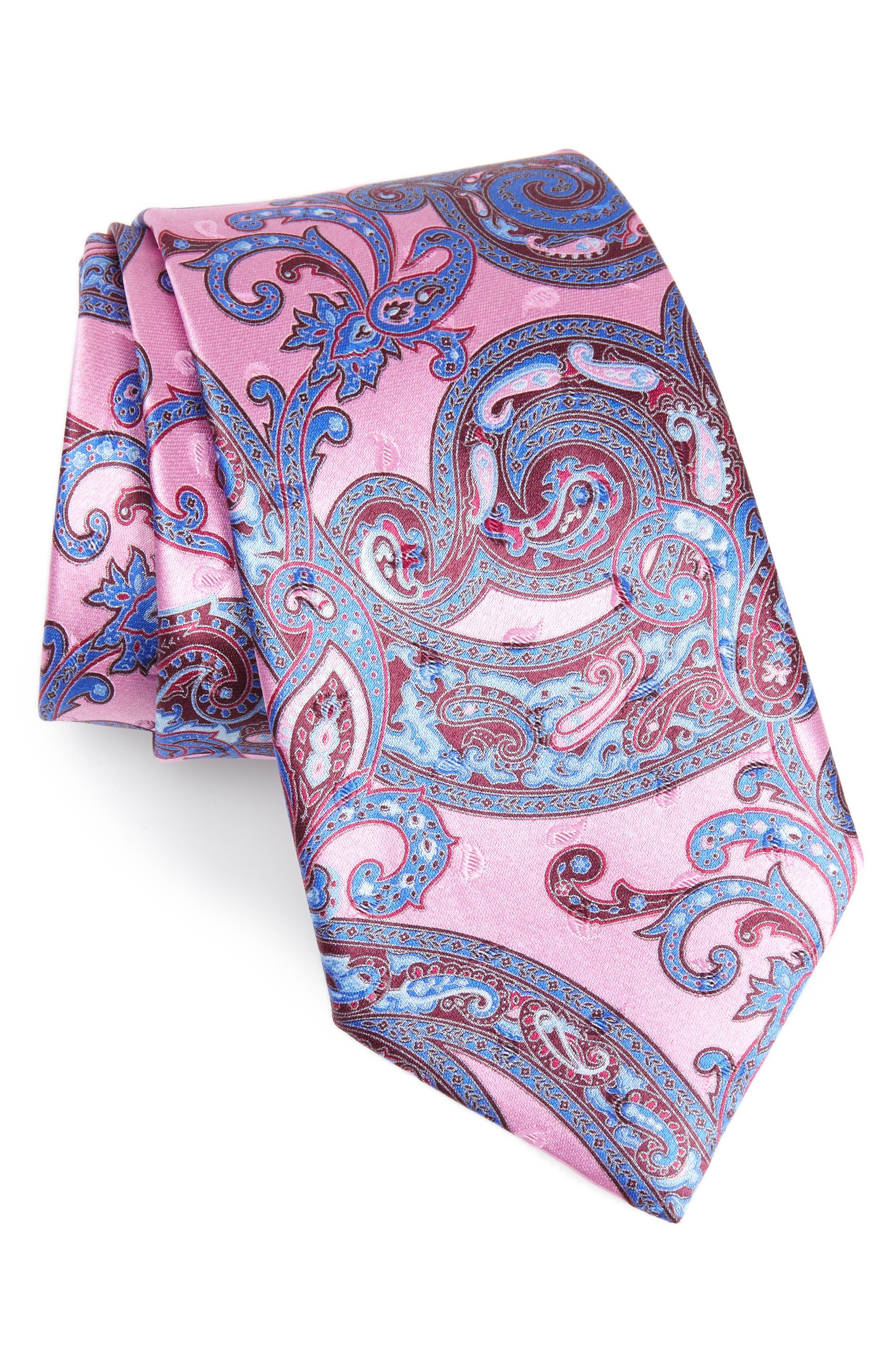 ERMENEGILDO ZEGNA, Paisley Silk Tie, Main thumbnail 1, color, PINK