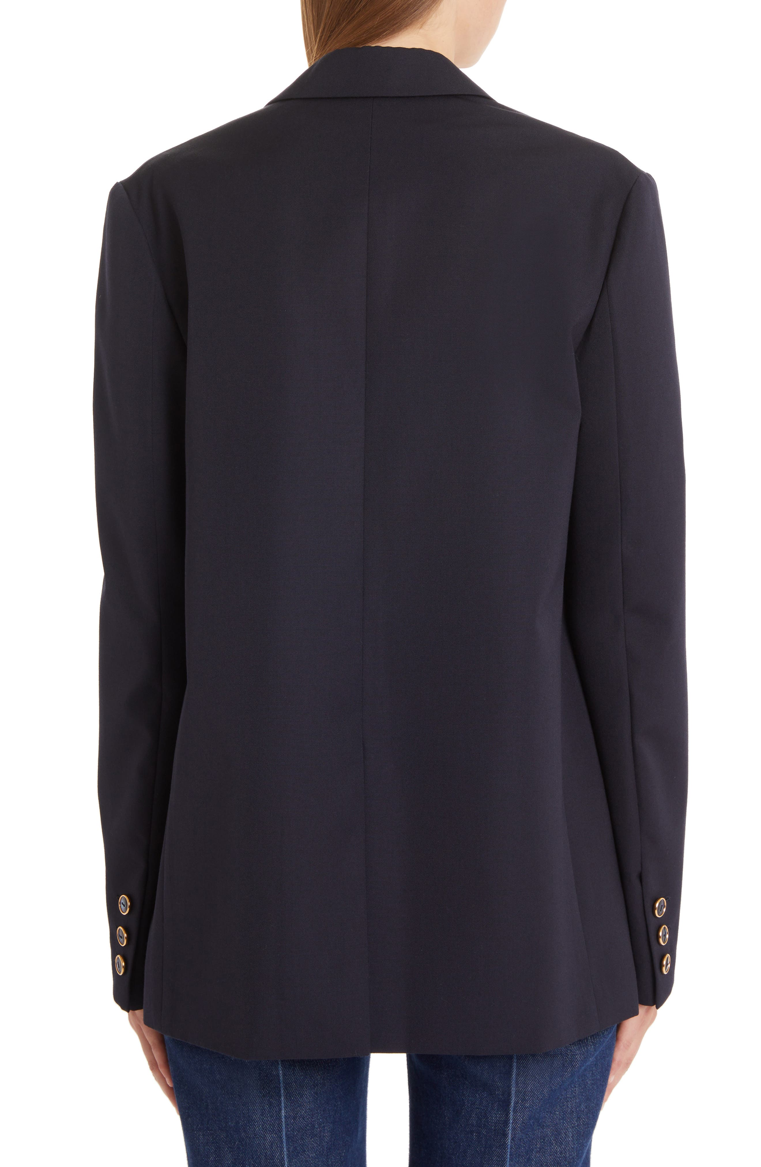 VALENTINO, V-Detail Wool Gabardine Jacket, Alternate thumbnail 2, color, NAVY