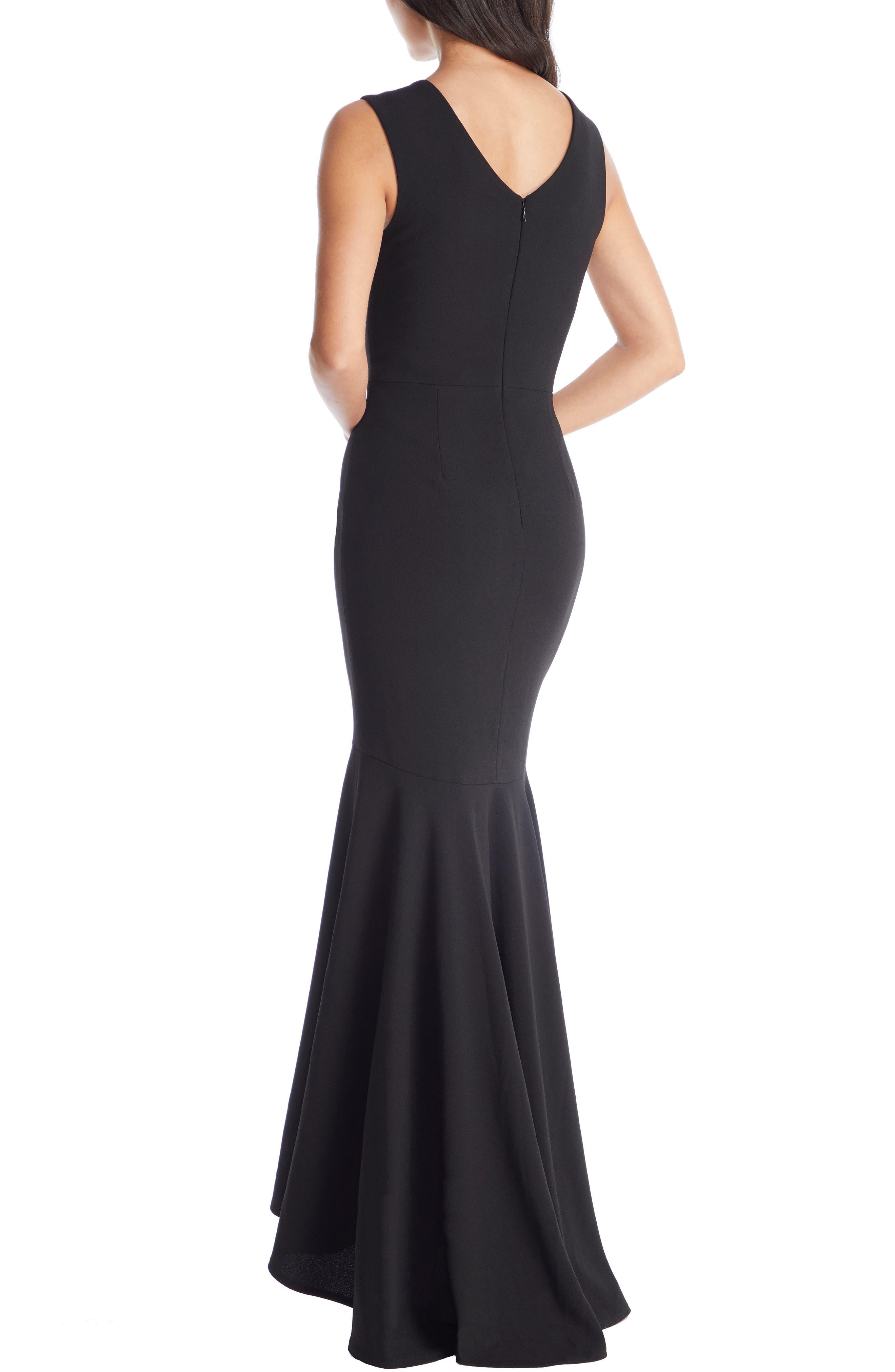DRESS THE POPULATION, Demi High/Low Mermaid Hem Evening Dress, Alternate thumbnail 2, color, BLACK