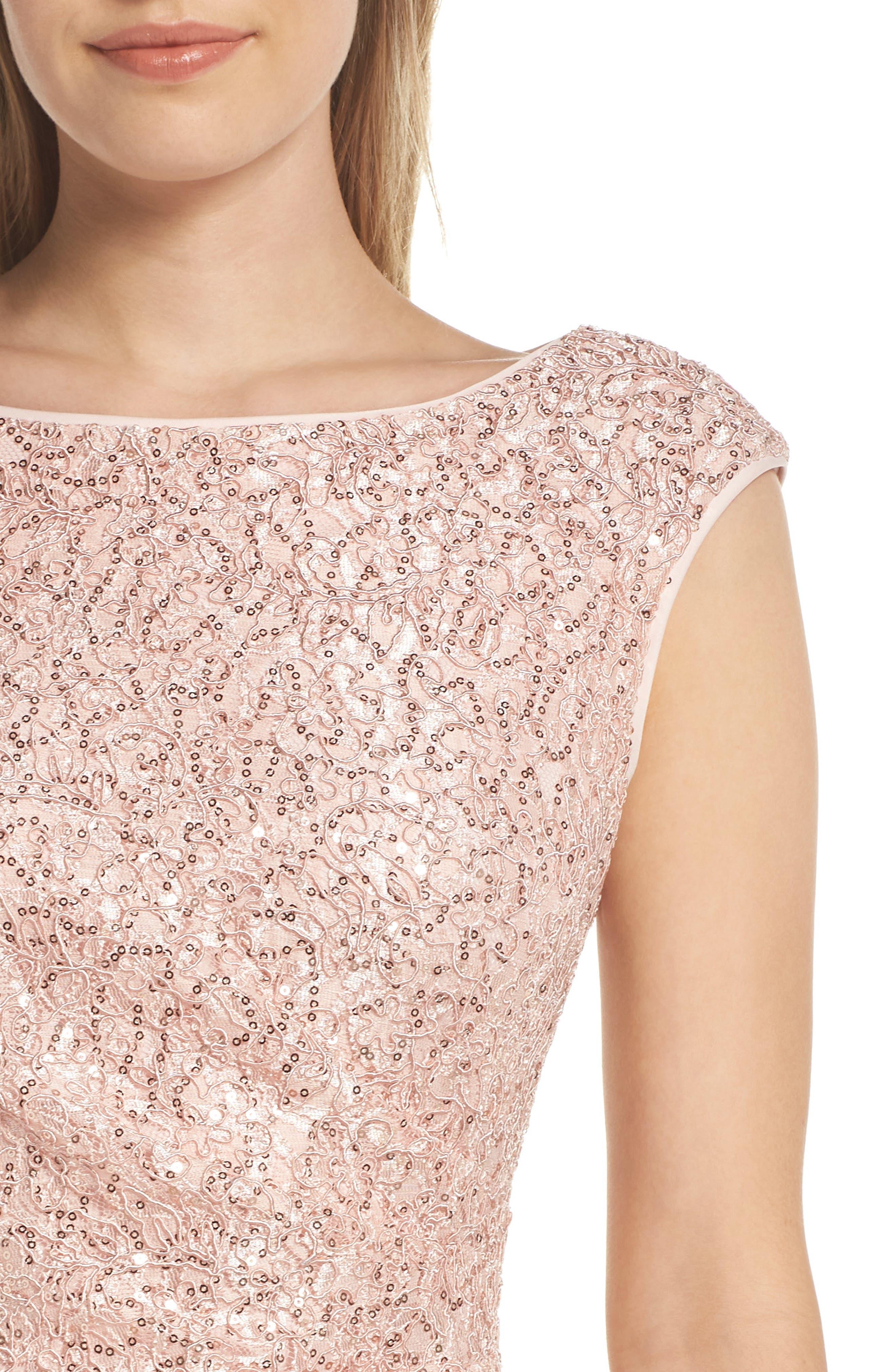 VINCE CAMUTO, Sequin Lace Sheath Dress, Alternate thumbnail 5, color, 684