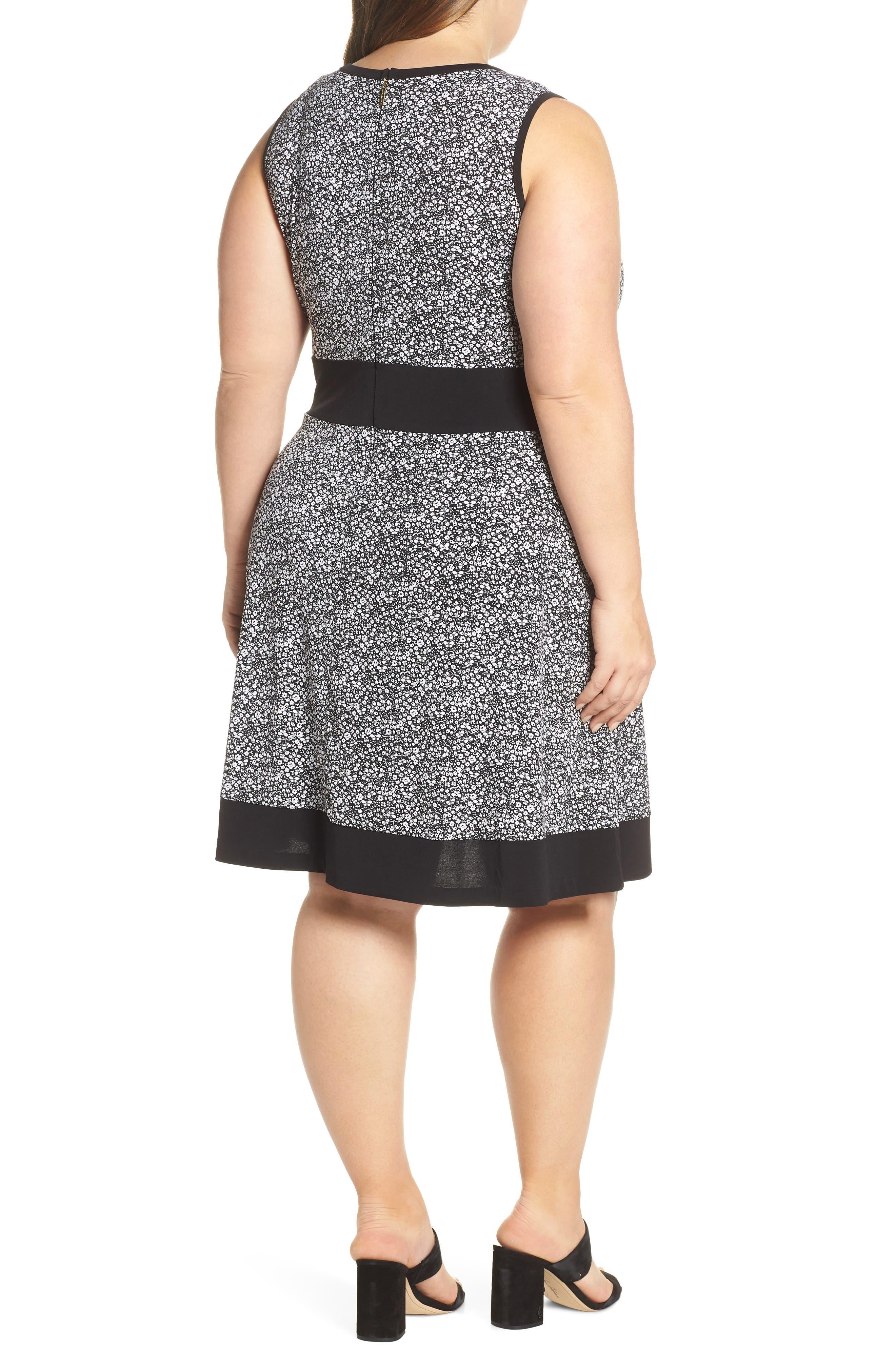 MICHAEL MICHAEL KORS, Spring Twist Dress, Alternate thumbnail 2, color, BLACK/ WHITE
