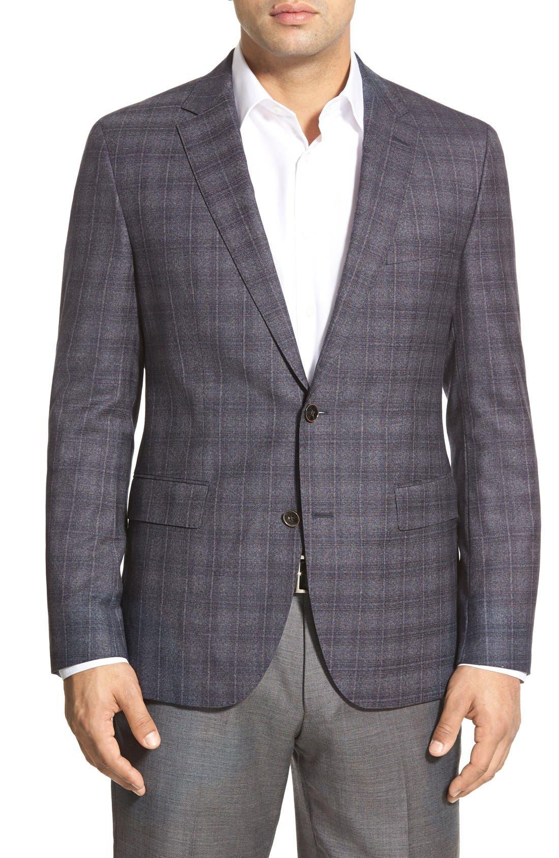 ZZDNUHUGO BOSS, BOSS 'Jayden' Trim Fit Plaid Wool Sport Coat, Main thumbnail 1, color, 420