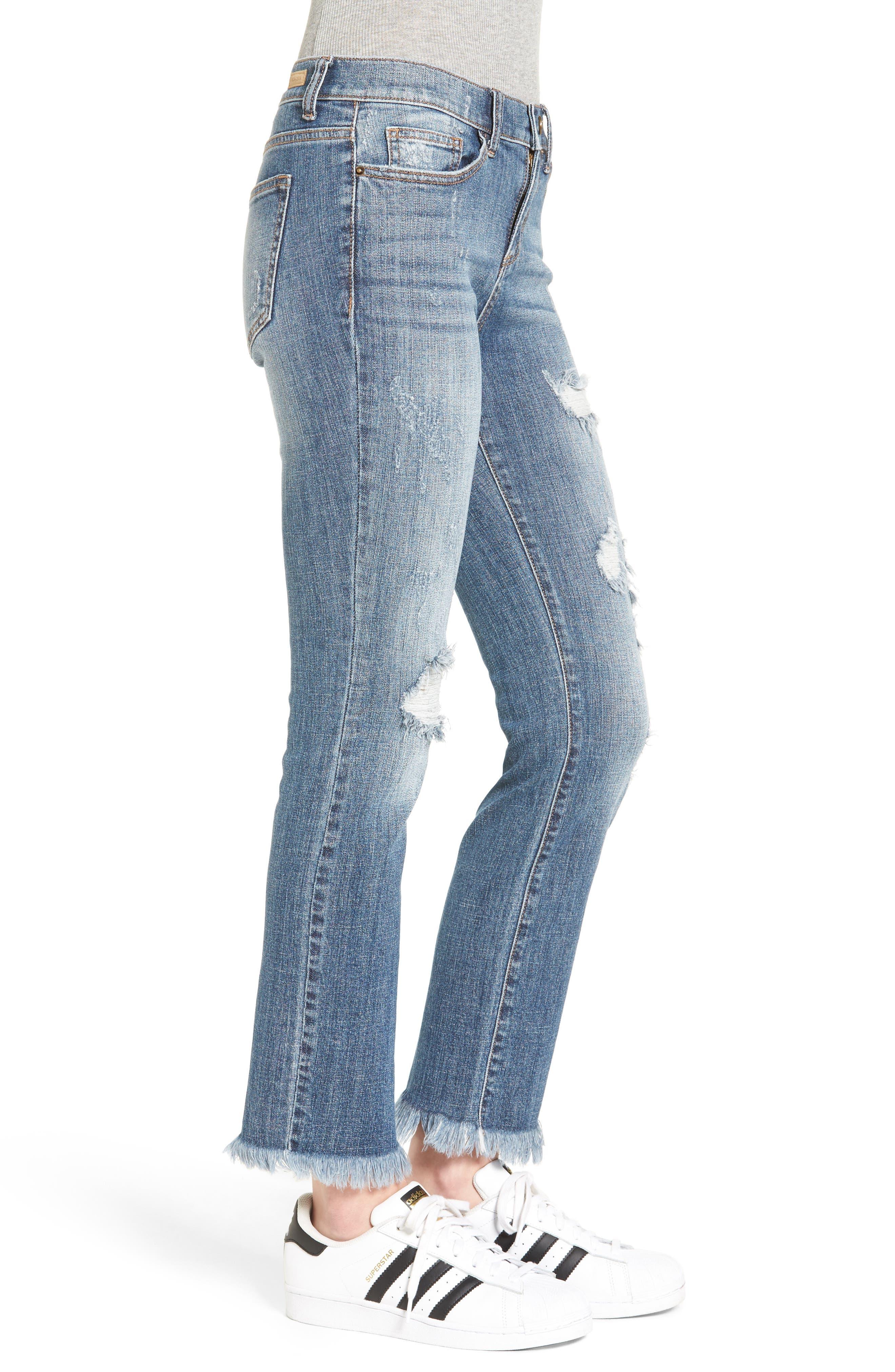 SP BLACK, Destroyed Frayed Hem Jeans, Alternate thumbnail 3, color, 400