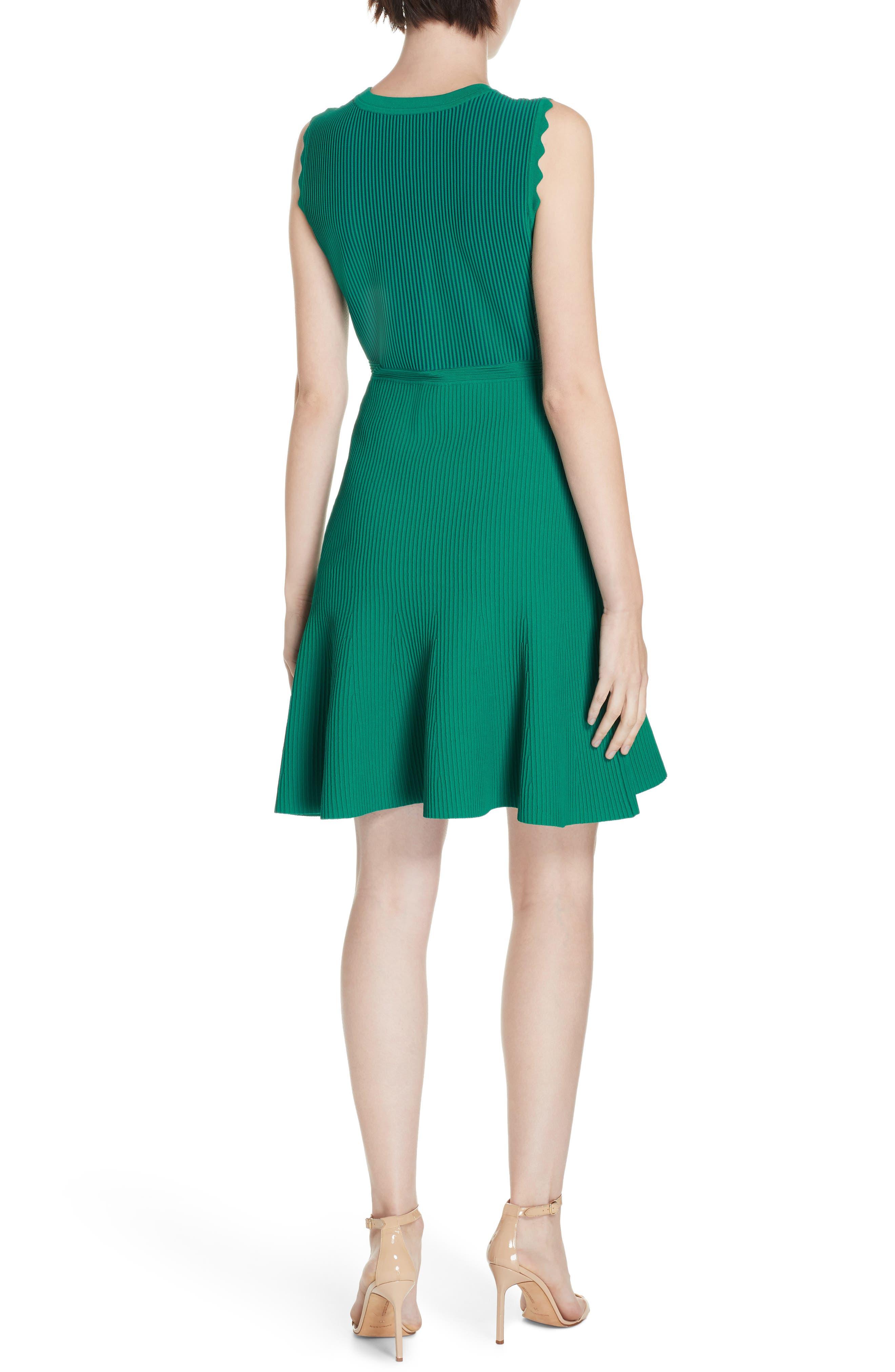 DVF, Adi Ribbed Knit Dress, Alternate thumbnail 2, color, EMERALD/ AVALON TEAL
