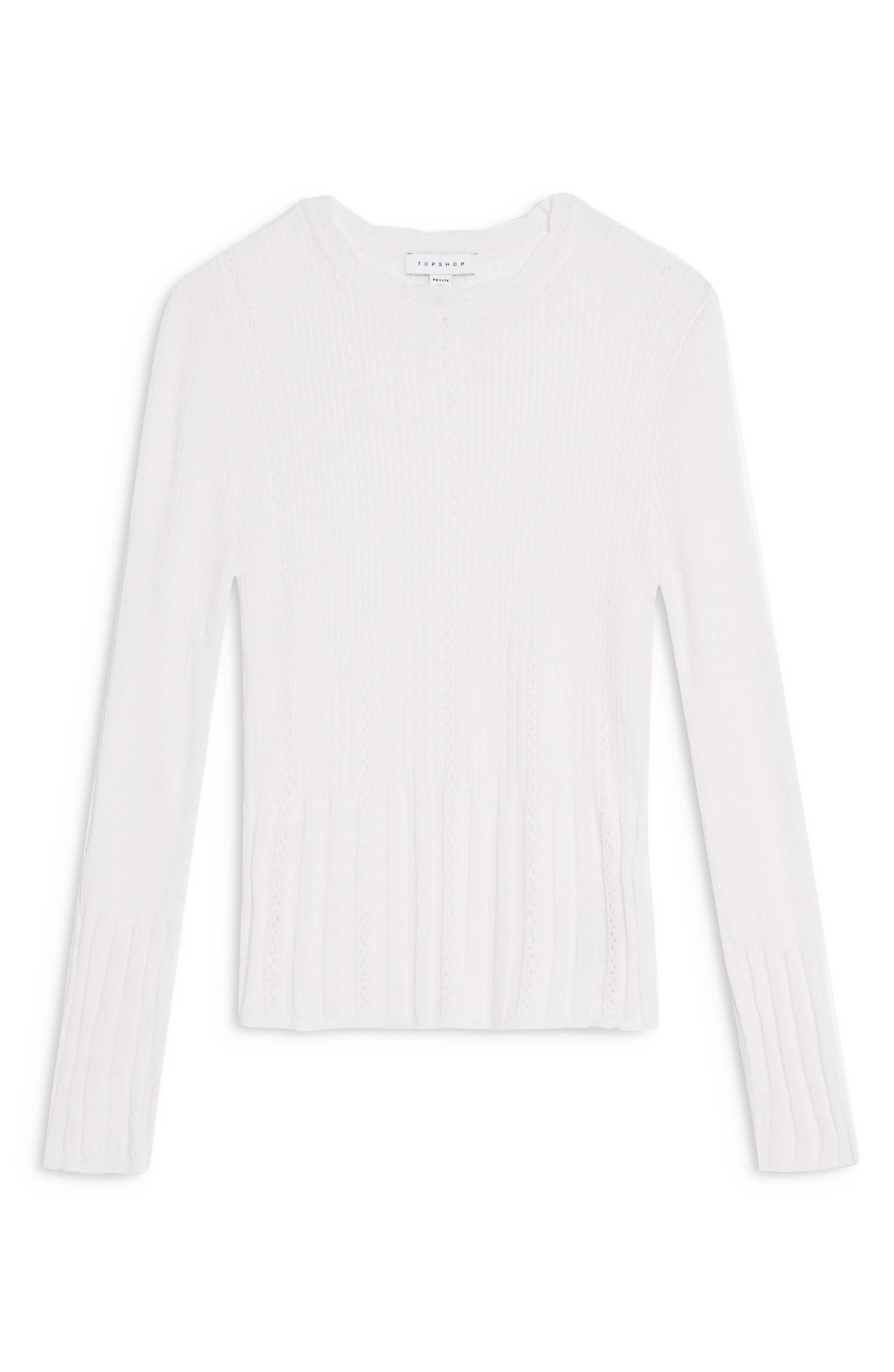 TOPSHOP, Pointelle Sweater, Alternate thumbnail 3, color, IVORY