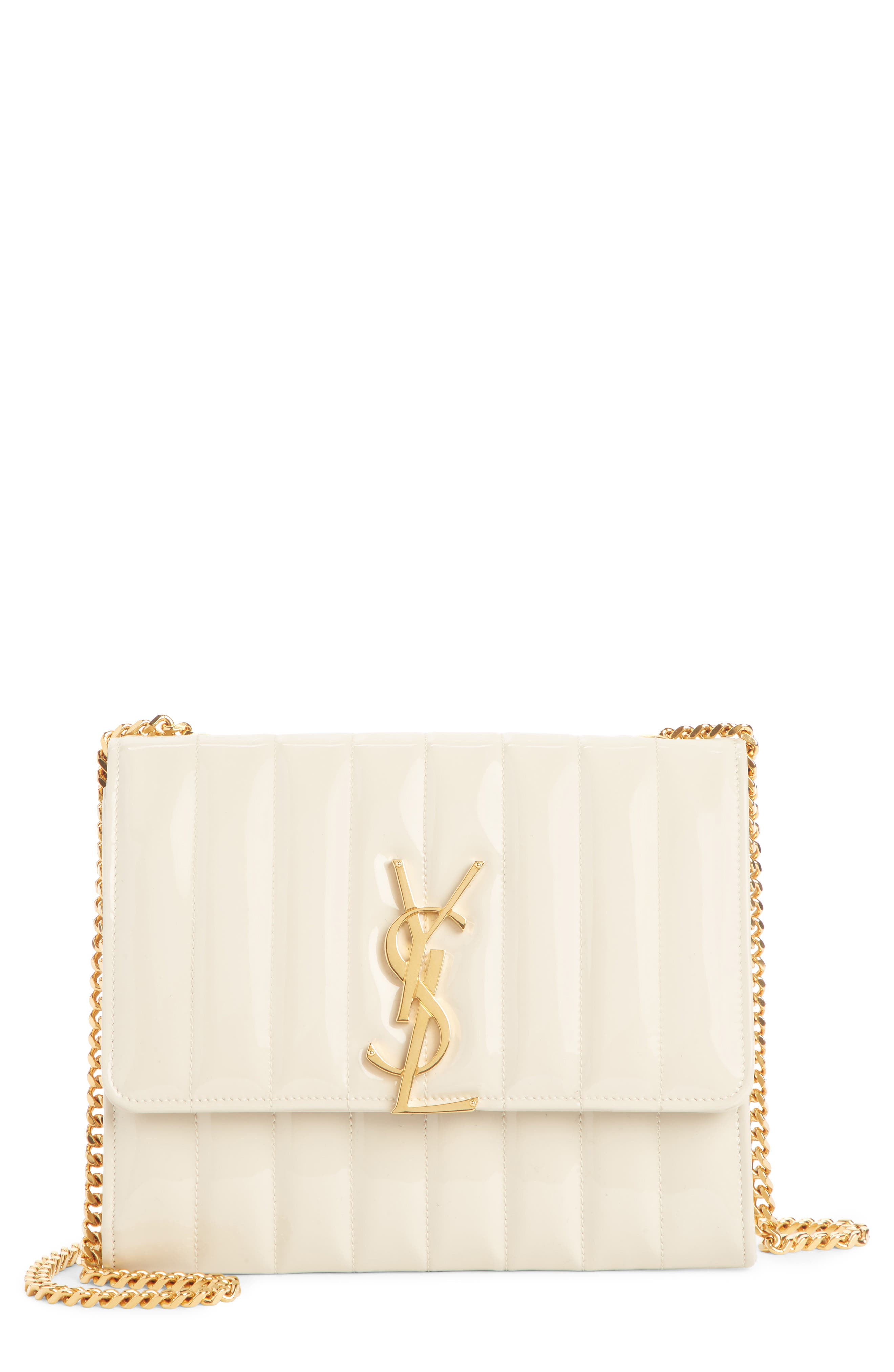SAINT LAURENT, Vicky Patent Leather Wallet on a Chain, Main thumbnail 1, color, CREMA SOFT