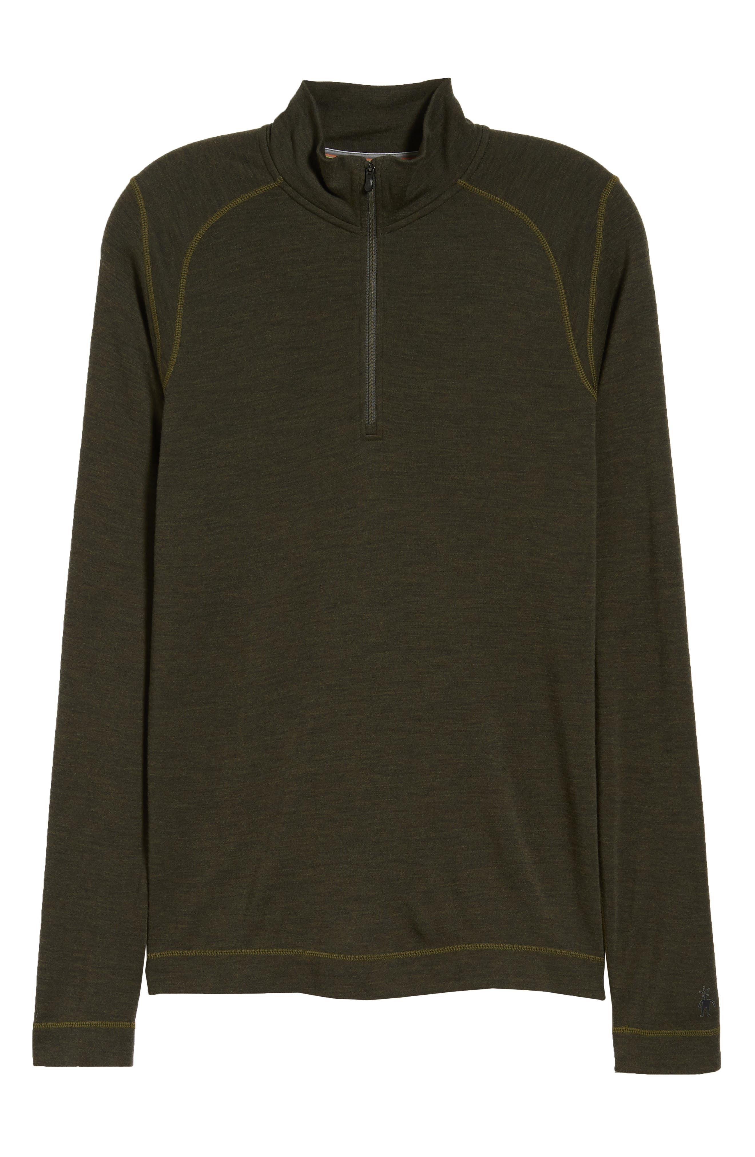 SMARTWOOL, Merino 250 Base Layer Quarter Zip Pullover, Alternate thumbnail 6, color, OLIVE HEATHER