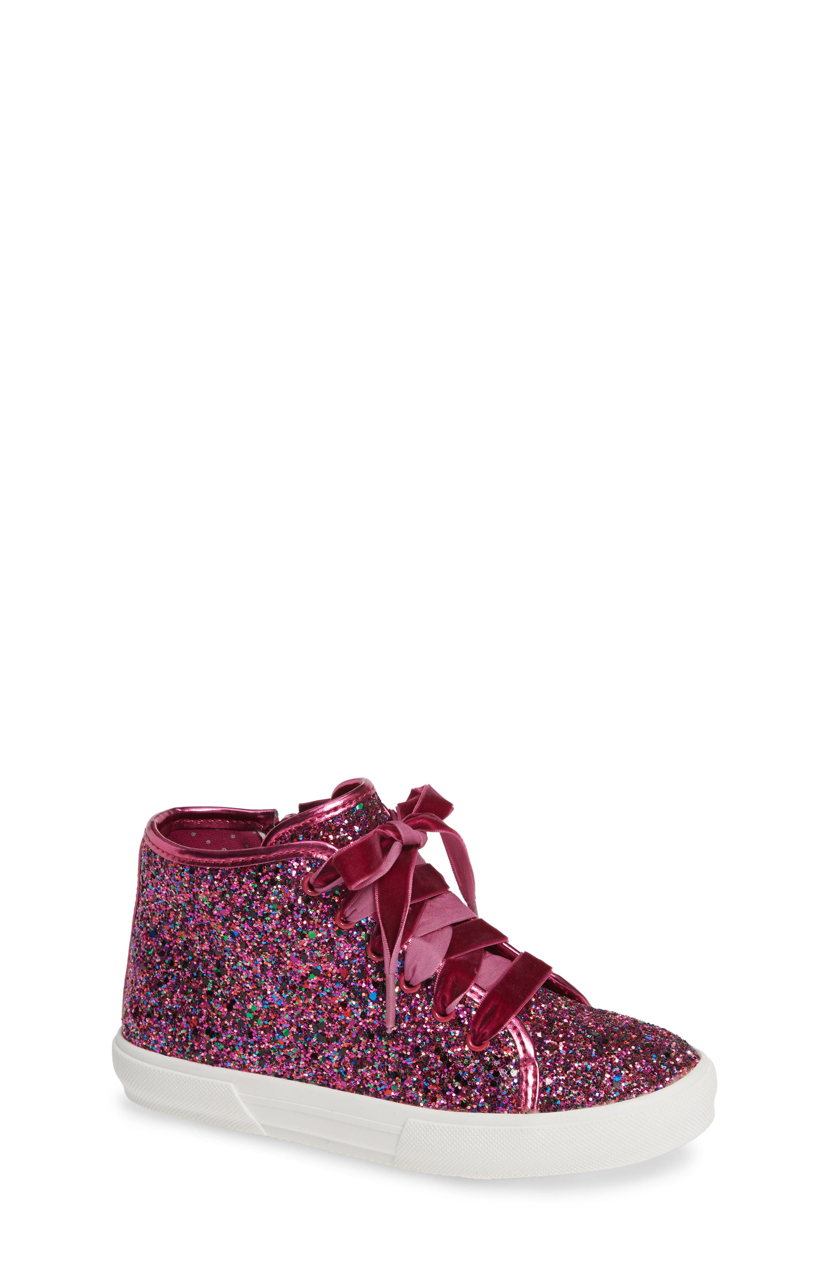 TUCKER + TATE, Skylar Glitter Sneaker, Main thumbnail 1, color, FUSCHIA MULTI GLITTER PU