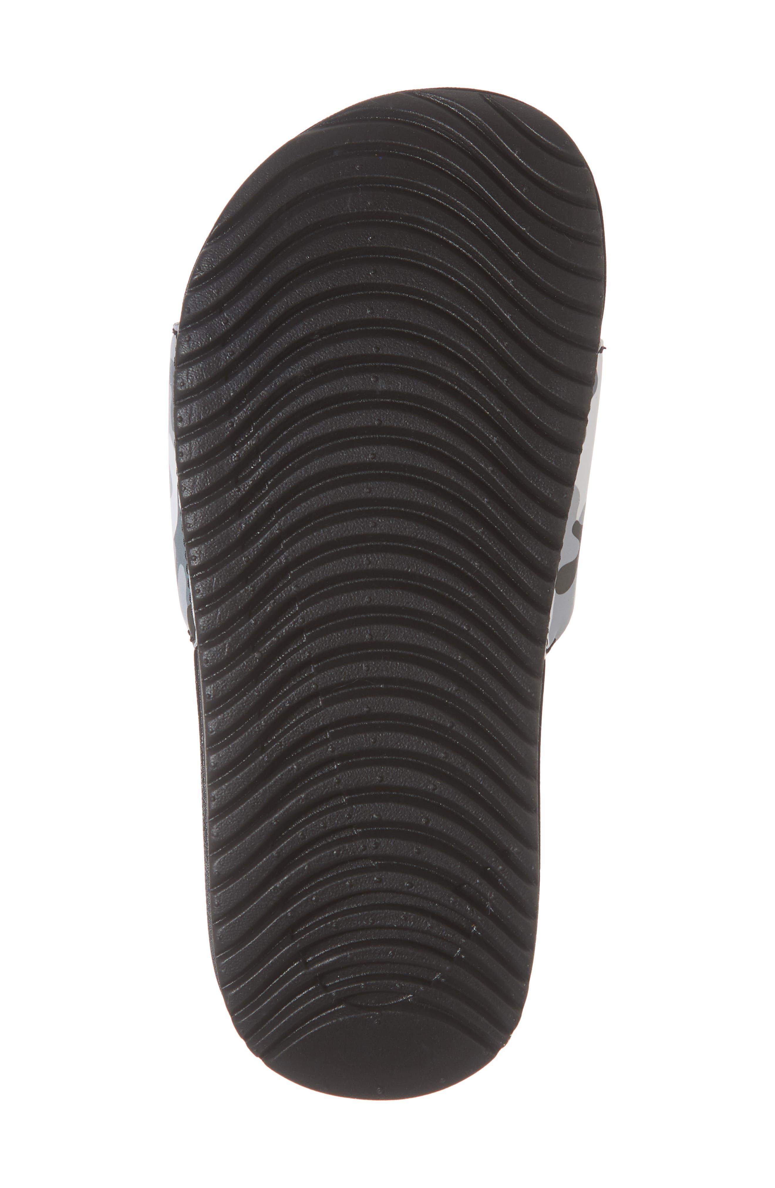 NIKE, Kawa Slide Sandal, Alternate thumbnail 6, color, WOLF GREY/ BLACK/ WHITE