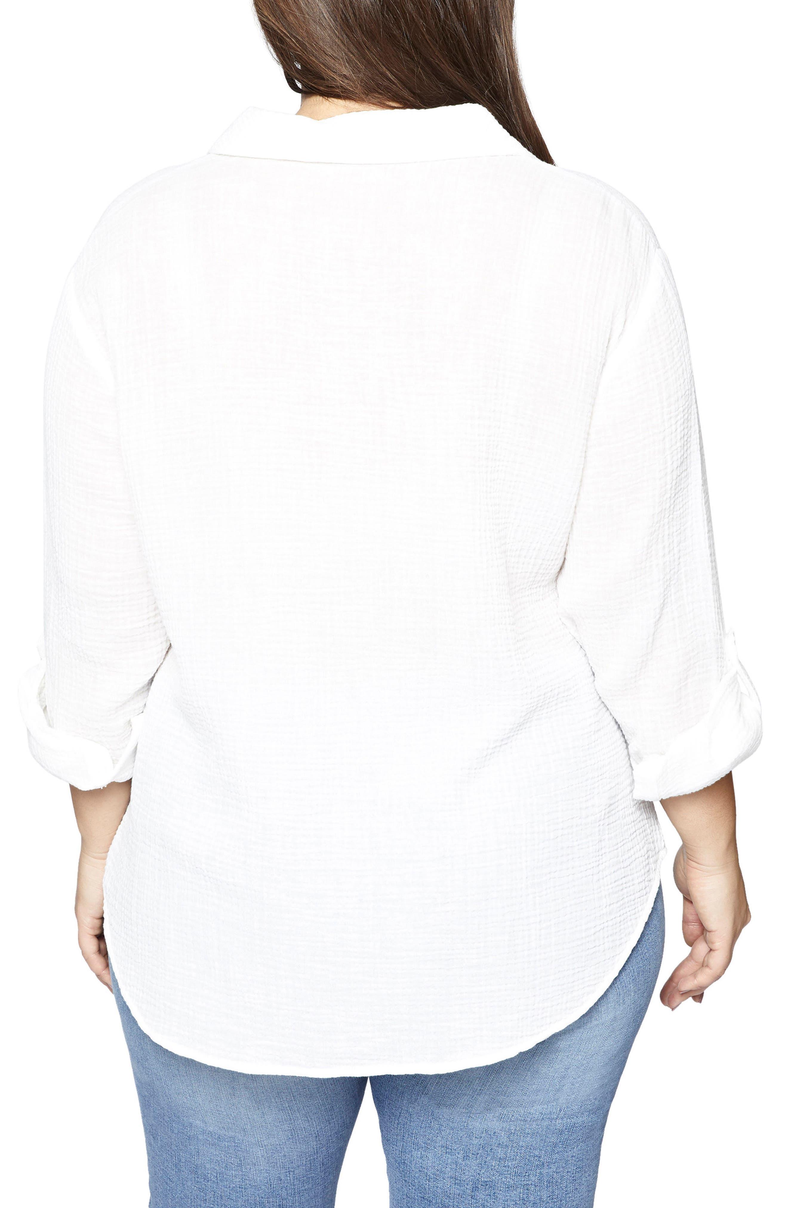 SANCTUARY, Steady Boyfriend Shirt, Alternate thumbnail 2, color, WHITE