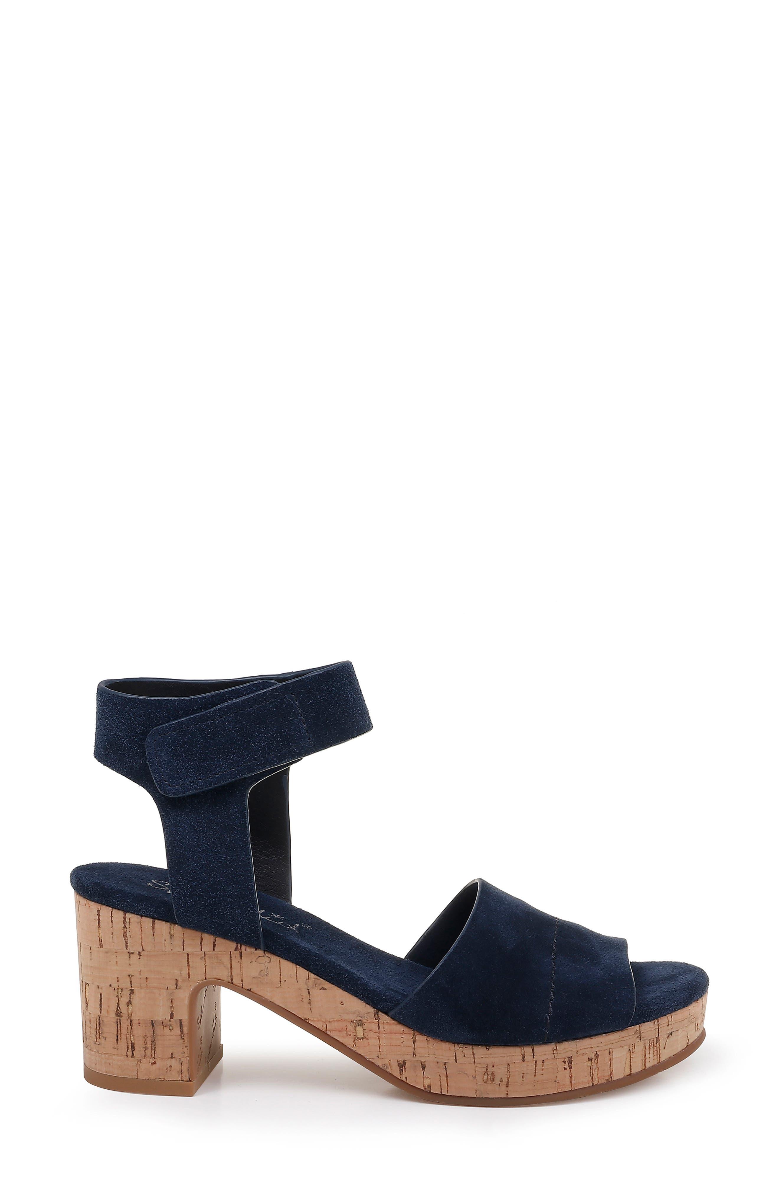 SPLENDID, Thatcher Platform Ankle Strap Sandal, Alternate thumbnail 3, color, NAVY SUEDE
