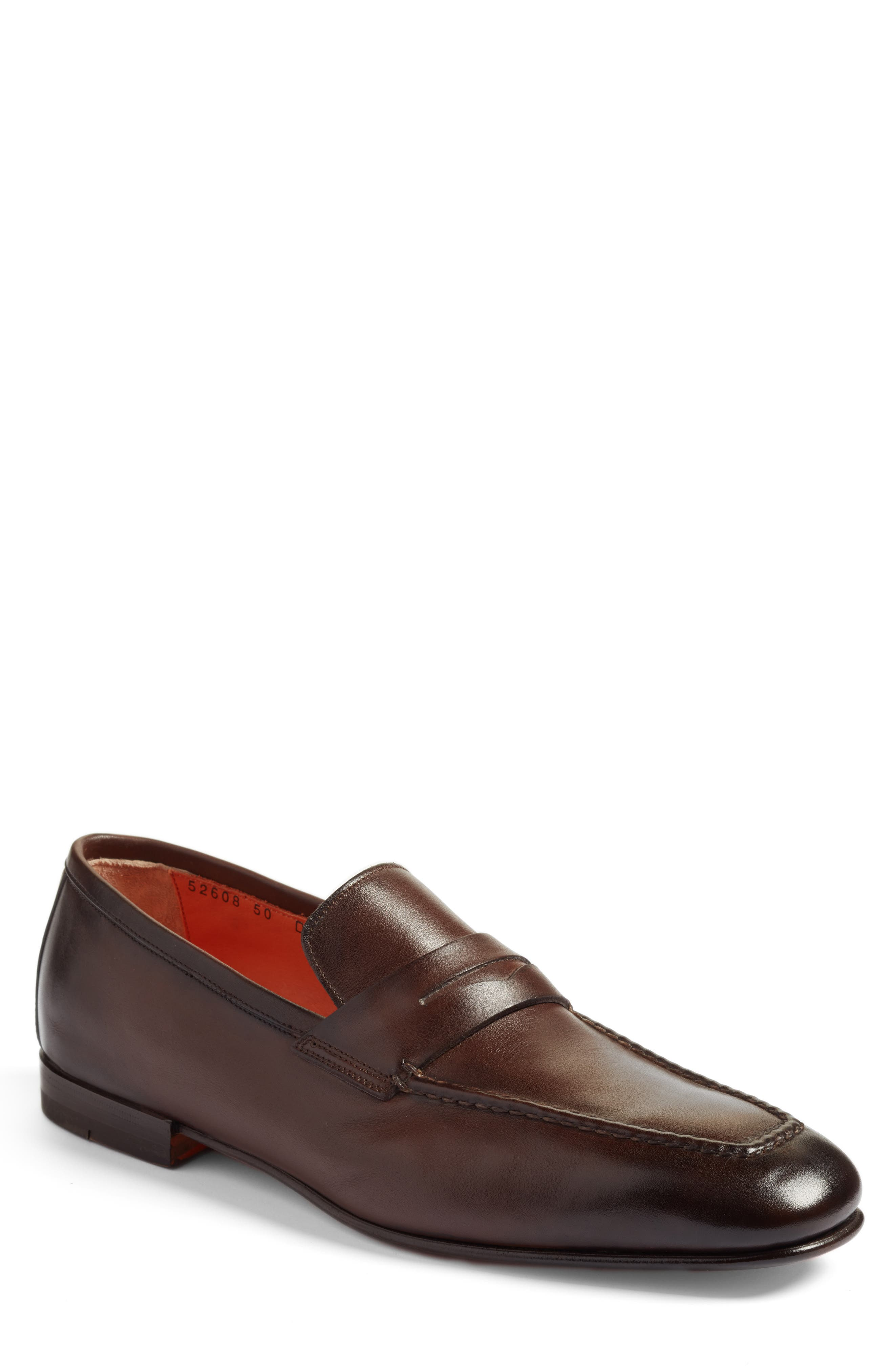 SANTONI, Fox Packable Penny Loafer, Main thumbnail 1, color, DARK BROWN LEATHER