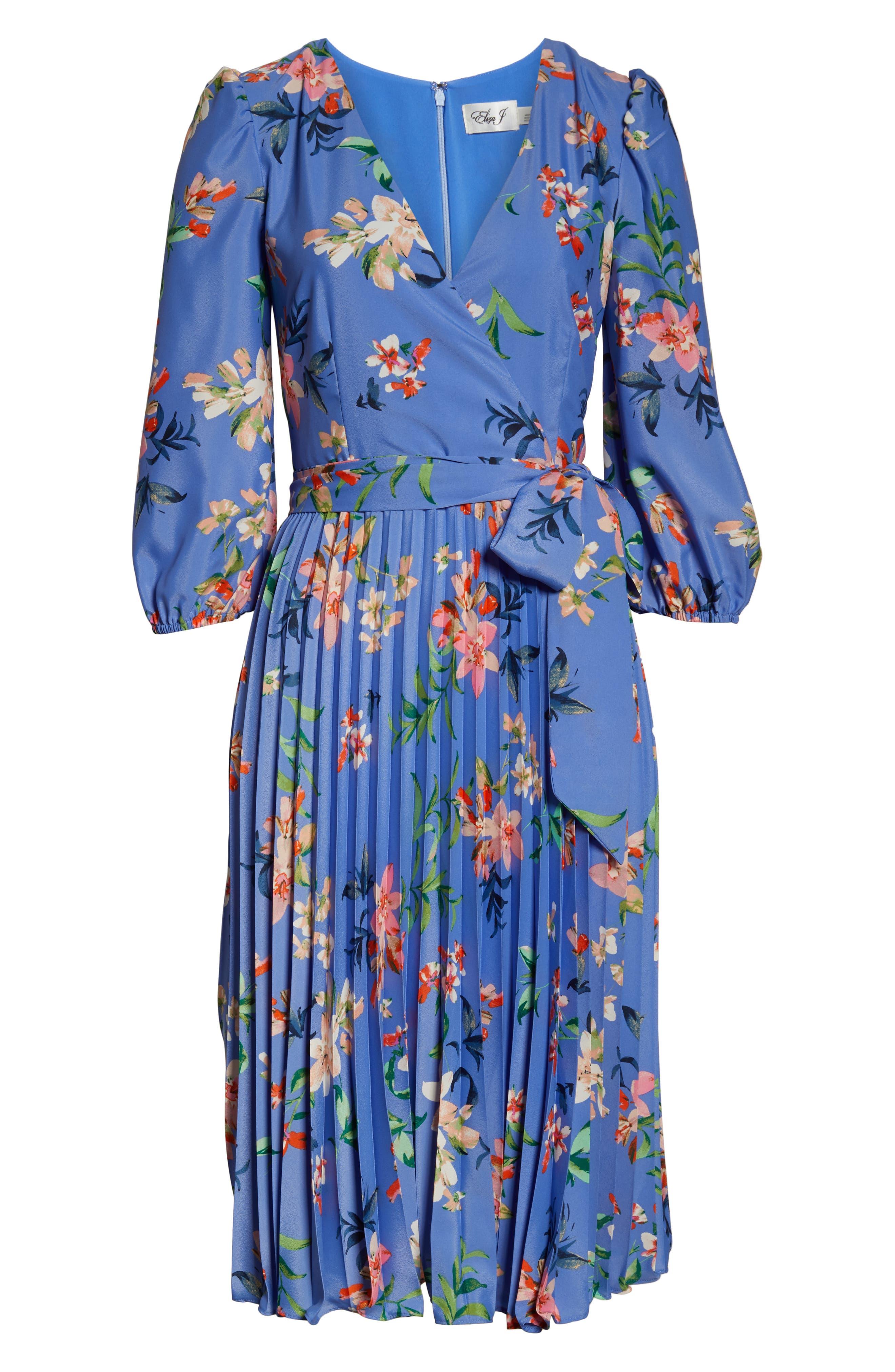 ELIZA J, Pleated Faux Wrap Dress, Alternate thumbnail 7, color, BLUE