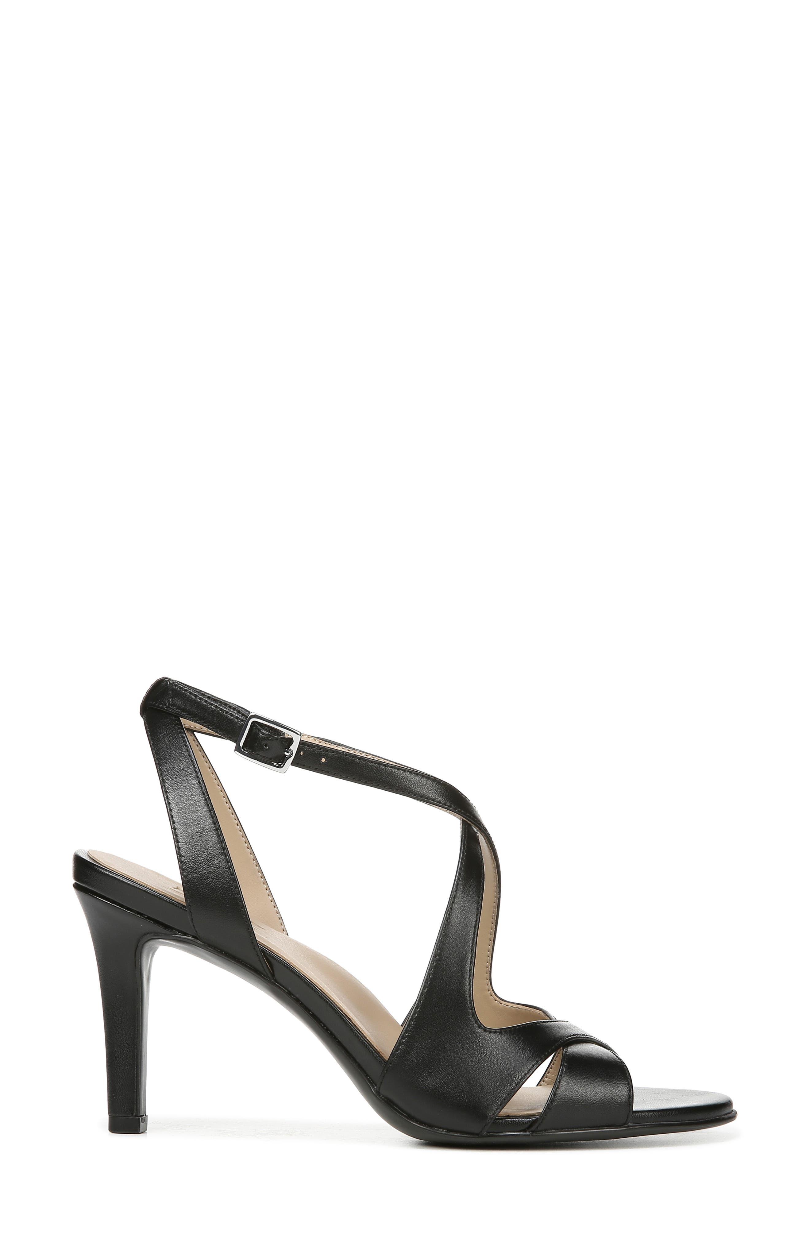 NATURALIZER, Klein Strappy Sandal, Alternate thumbnail 3, color, BLACK LEATHER
