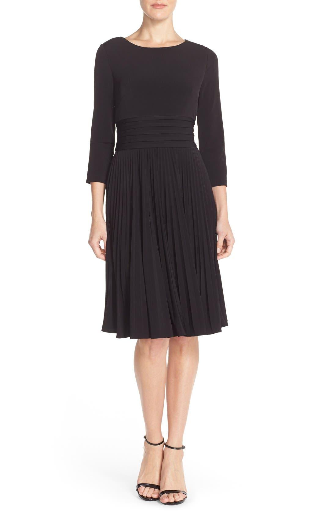 ELIZA J, Pleated Jersey Fit & Flare Dress, Alternate thumbnail 4, color, 001