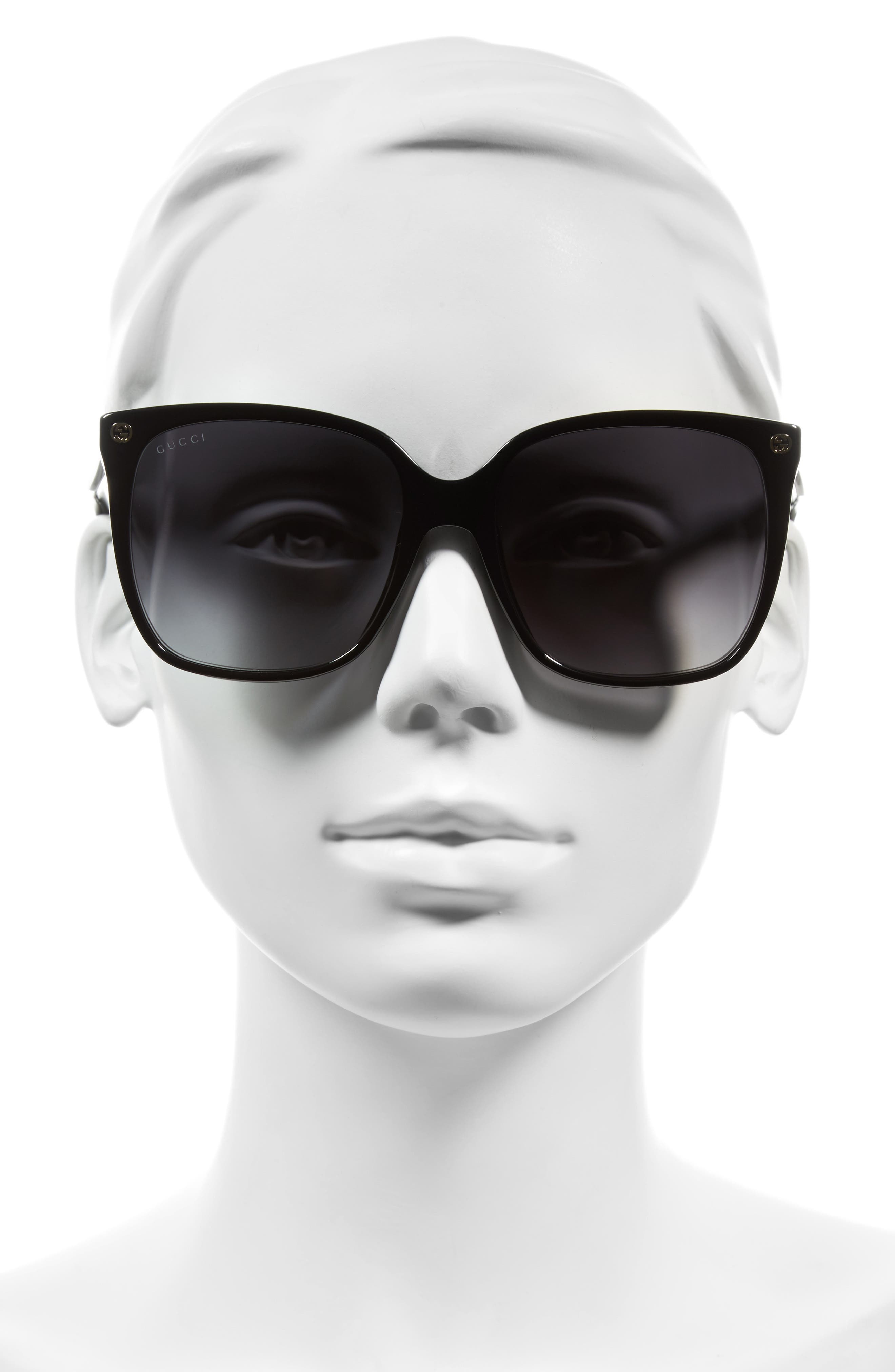GUCCI, 57mm Square Sunglasses, Alternate thumbnail 2, color, BLACK/ GREY