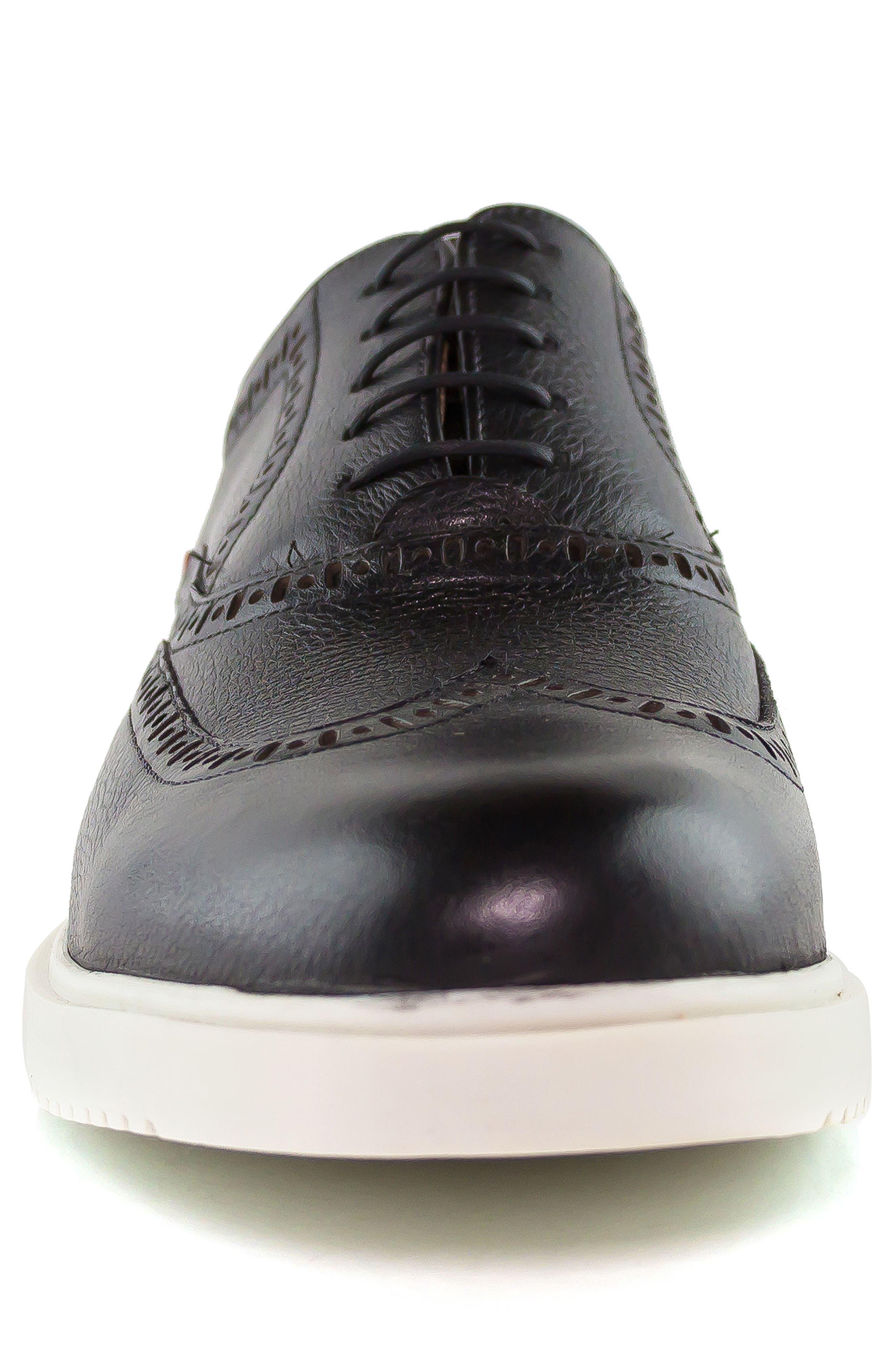 MARC JOSEPH NEW YORK, 5th Ave Wingtip Sneaker, Alternate thumbnail 4, color, 001