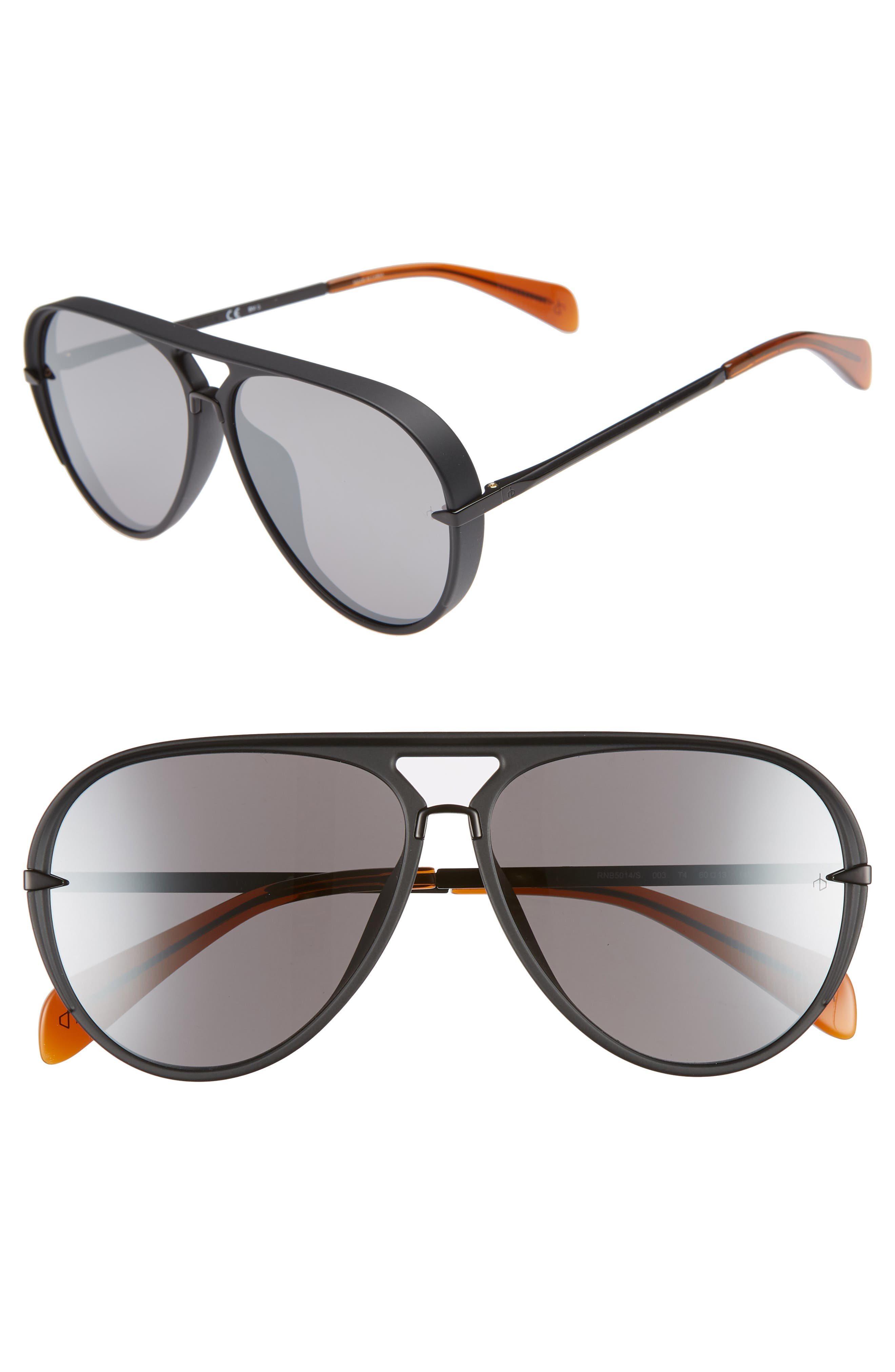 RAG & BONE, 60mm Mirrored Aviator Sunglasses, Main thumbnail 1, color, MATTE BLACK