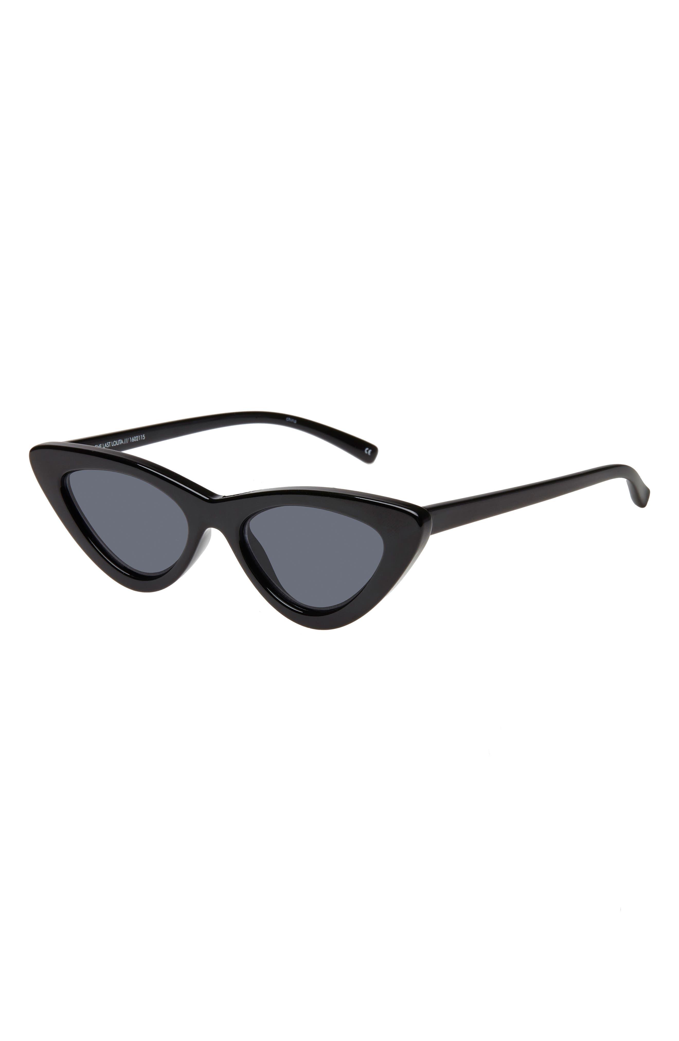 ADAM SELMAN X LE SPECS LUXE, Lolita 49mm Cat Eye Sunglasses, Alternate thumbnail 2, color, BLACK