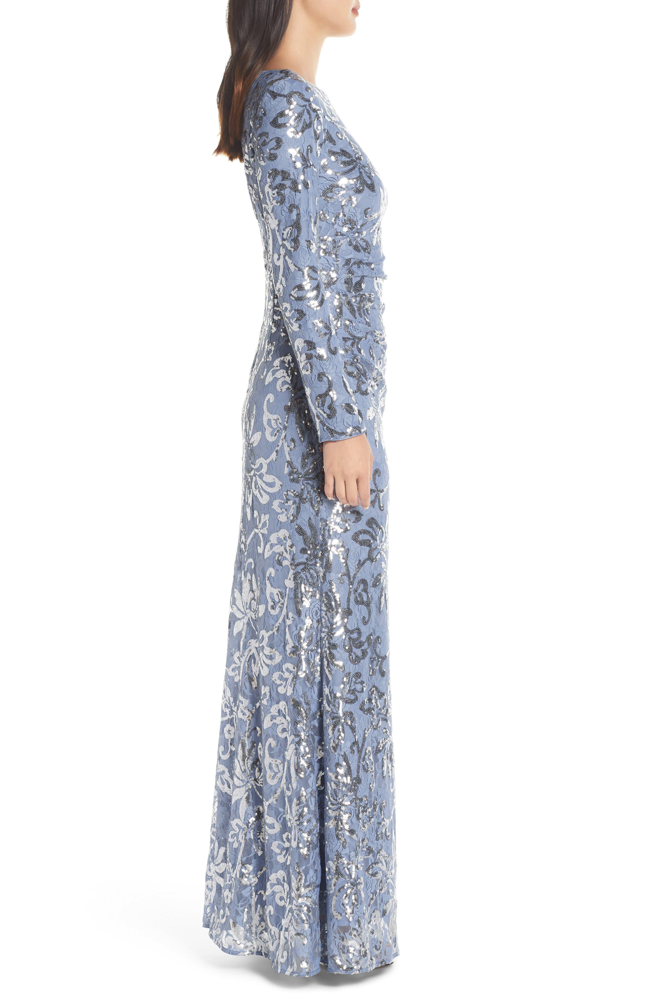 VINCE CAMUTO, Lace & Sequin Evening Dress, Alternate thumbnail 4, color, SKY BLUE