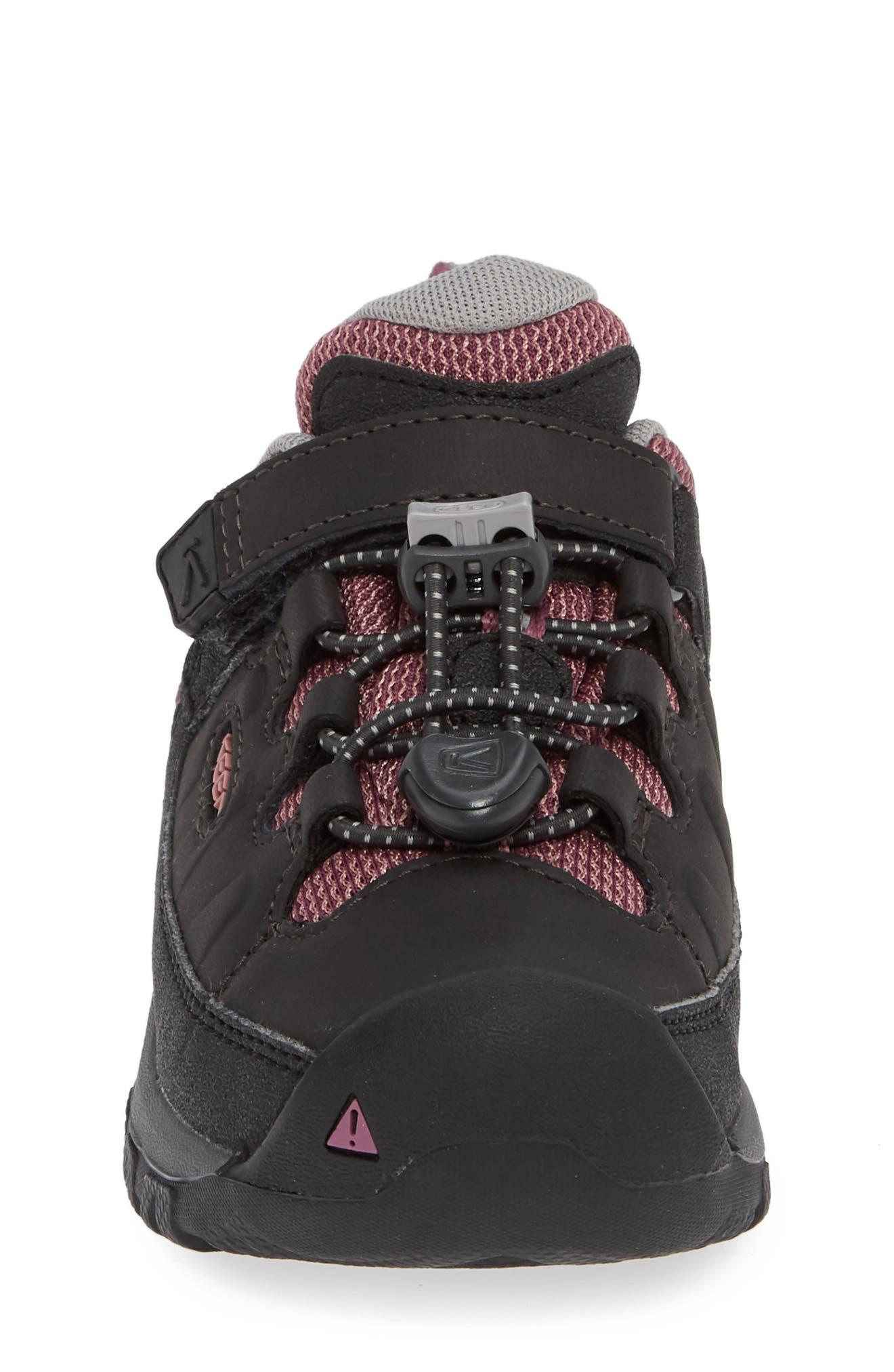 KEEN, Targhee Low Waterproof Sneaker, Alternate thumbnail 4, color, RAVEN/ TULIPWOOD