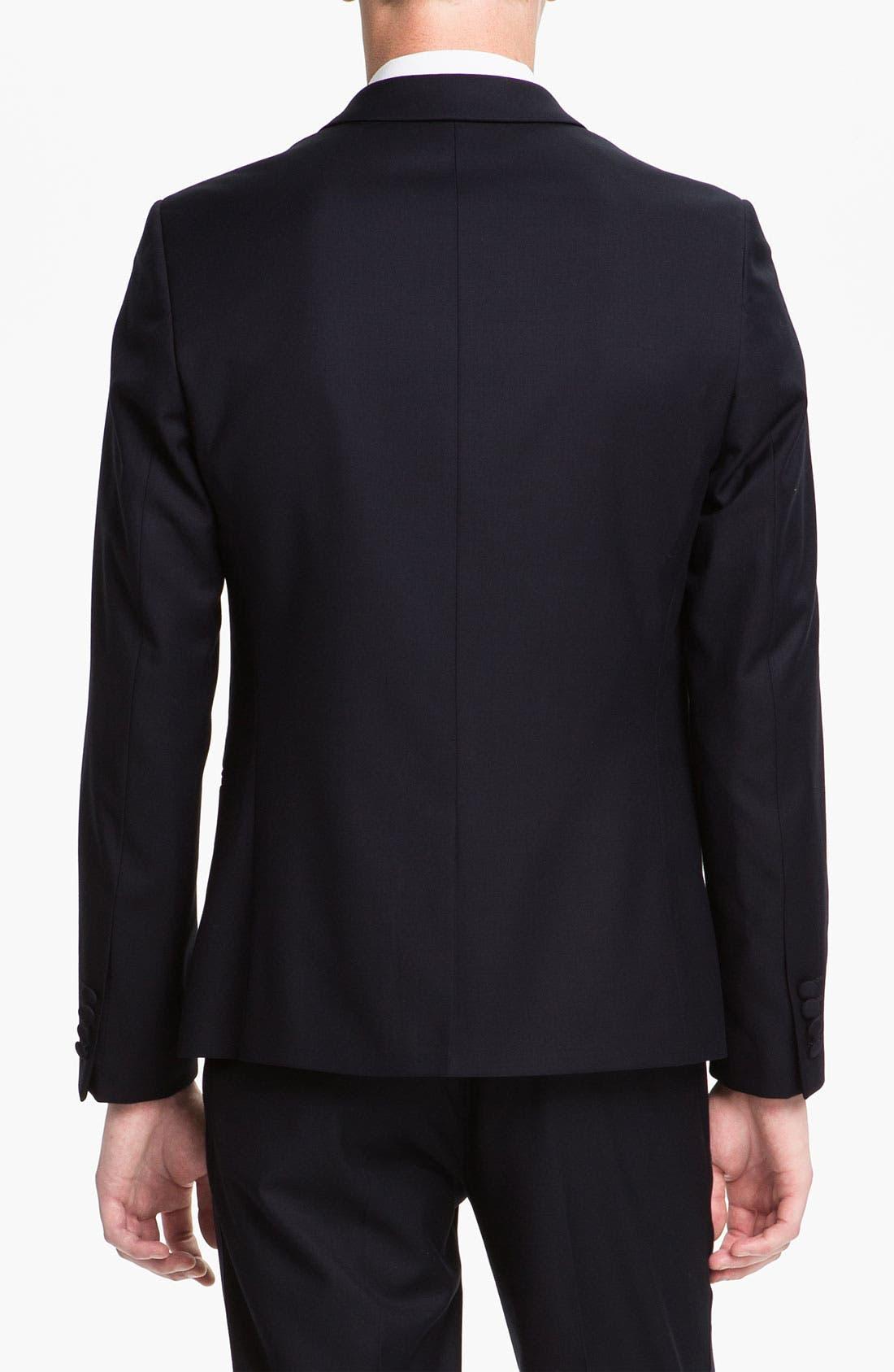 TOPMAN, Skinny Fit Single-Button Tuxedo Jacket, Alternate thumbnail 3, color, 410
