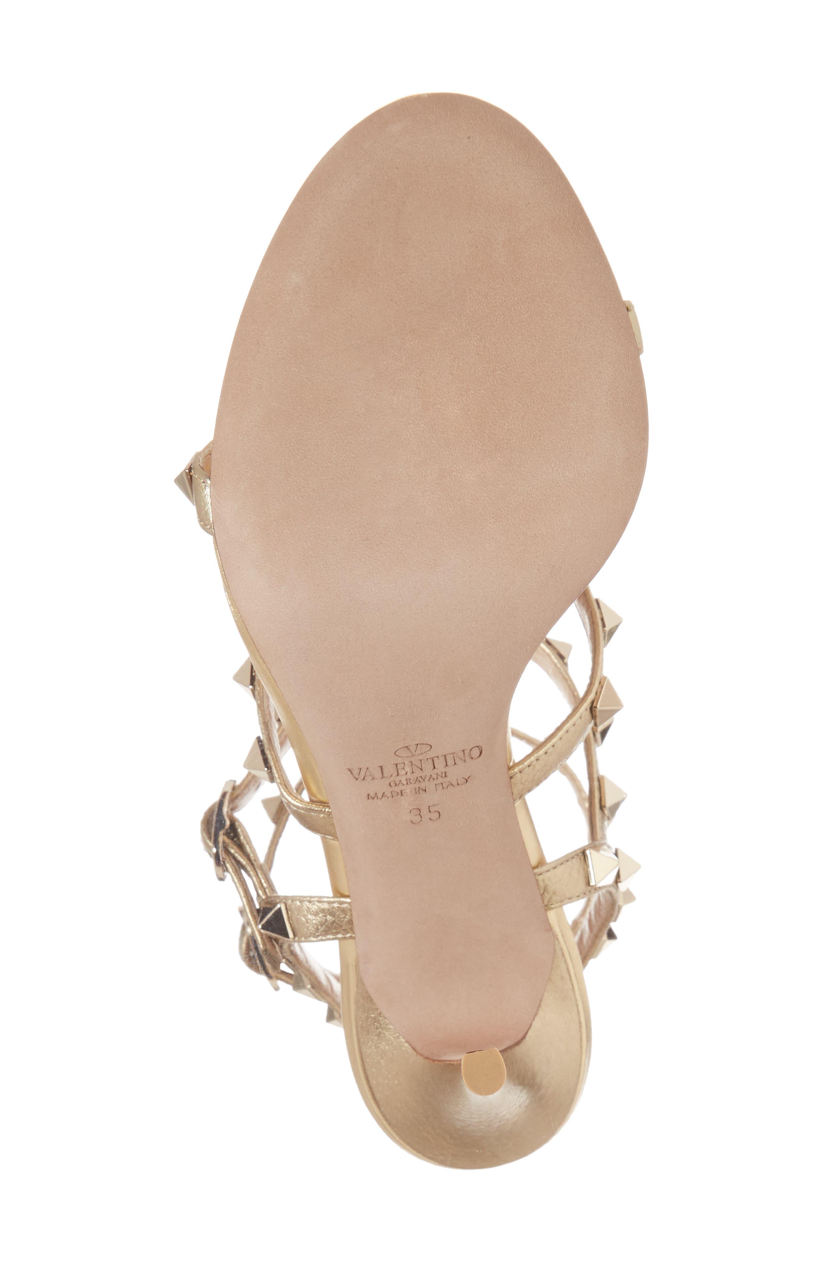 VALENTINO GARAVANI, Rockstud Metallic Ankle Strap Sandal, Alternate thumbnail 6, color, 710