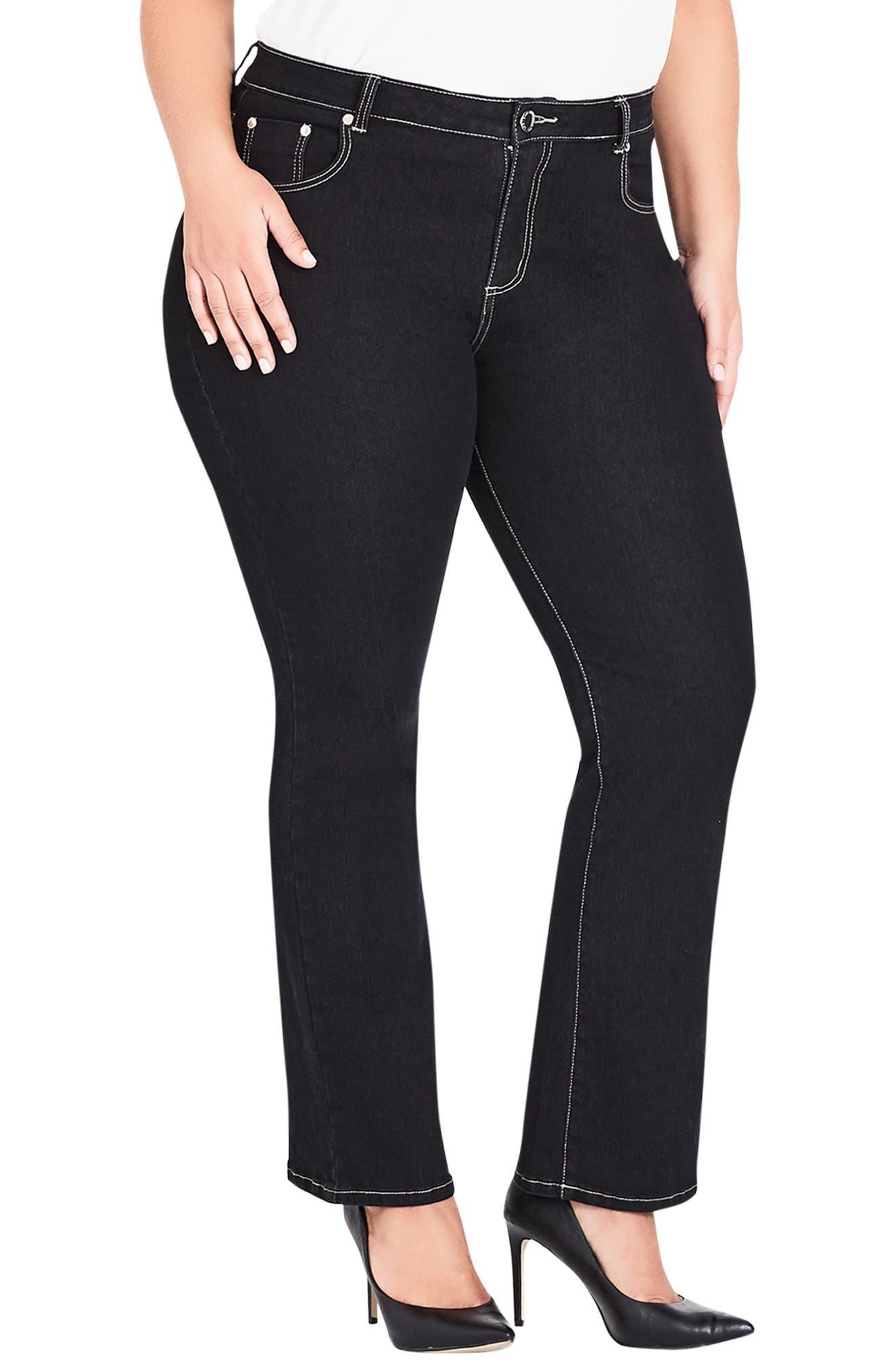 CITY CHIC, Regular Fit Bootcut Jeans, Main thumbnail 1, color, BLACK