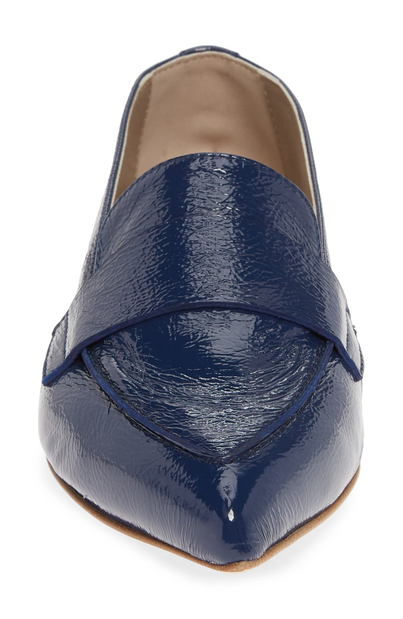 AGL, Softy Pointy Toe Moccasin Loafer, Alternate thumbnail 4, color, OCEAN PATENT