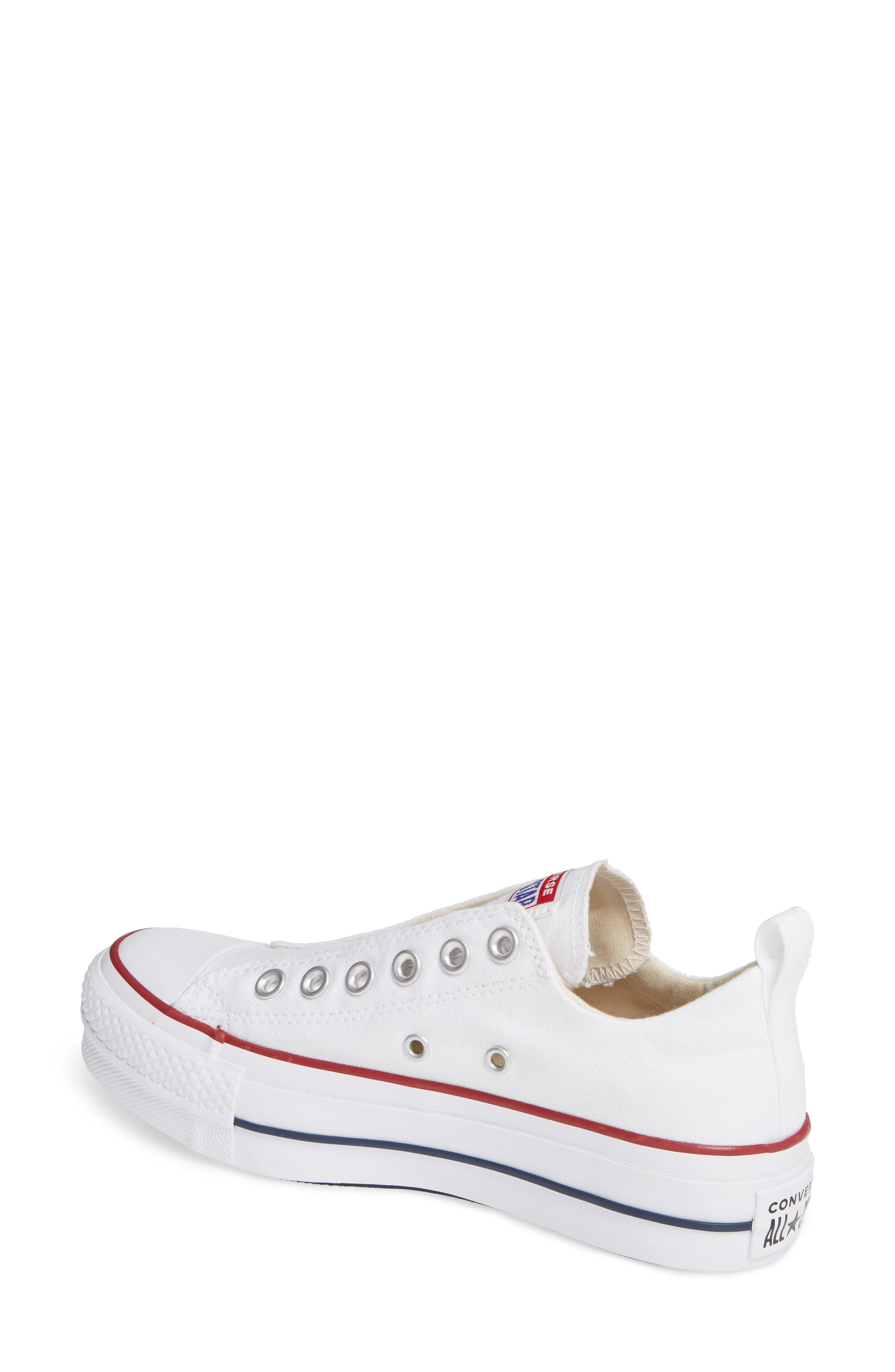 CONVERSE, Chuck Taylor<sup>®</sup> All Star<sup>®</sup> Low Top Sneaker, Alternate thumbnail 2, color, WHITE/ RED/ BLUE