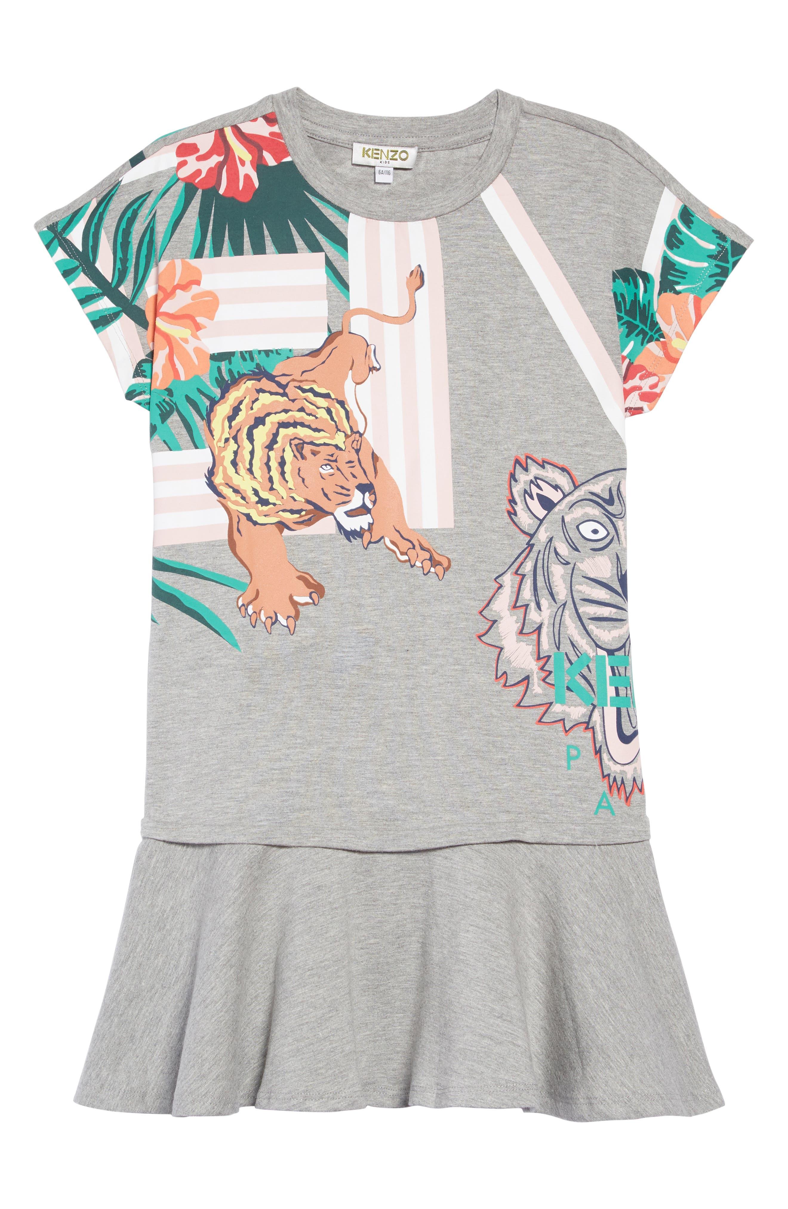 Girls Kenzo Iconics Jersey Dress Size 14Y  Grey