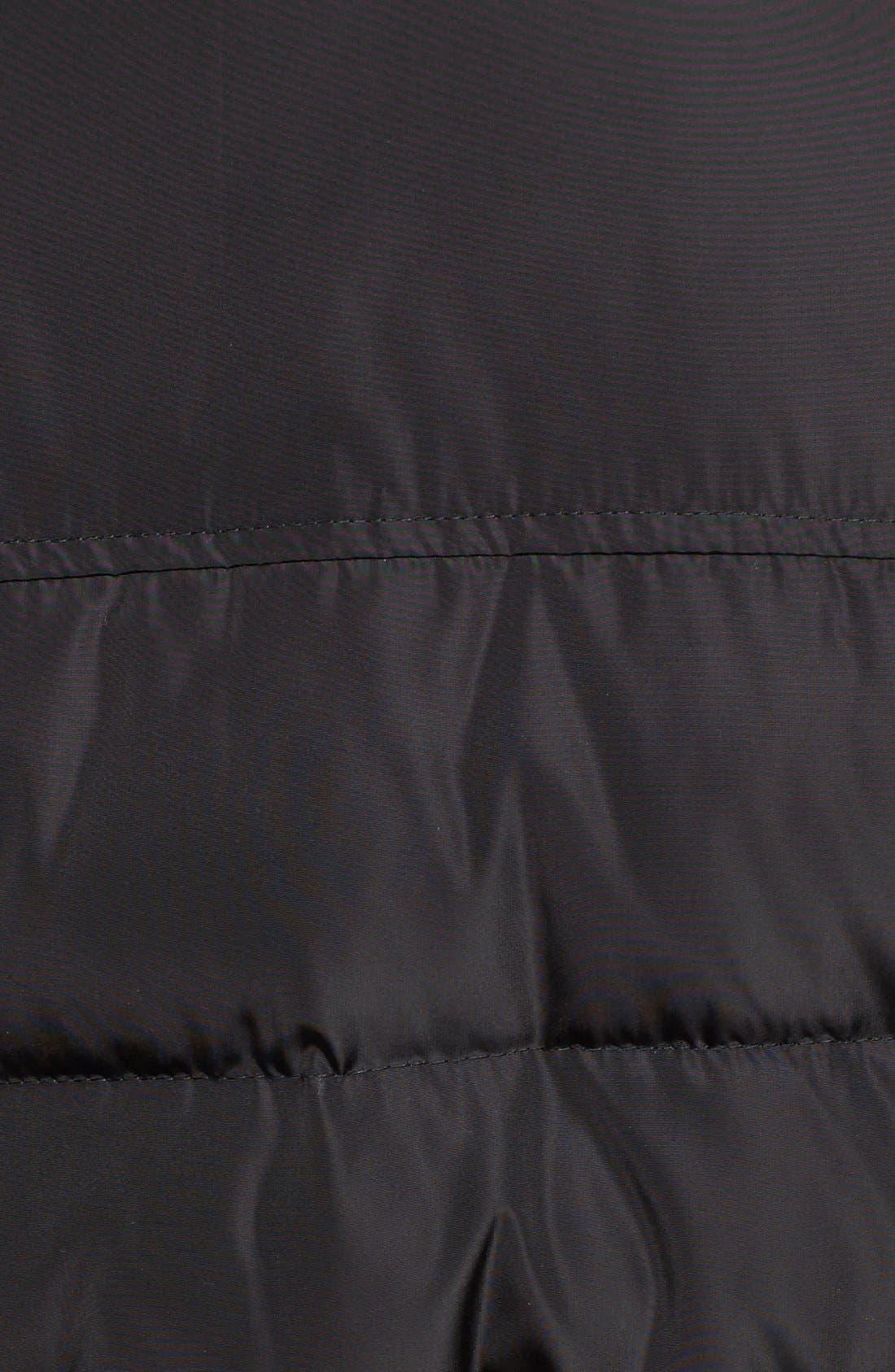 KORS MICHAEL KORS, Faux Fur Trim Belted Down & Feather Fill Maxi Coat, Alternate thumbnail 5, color, 001