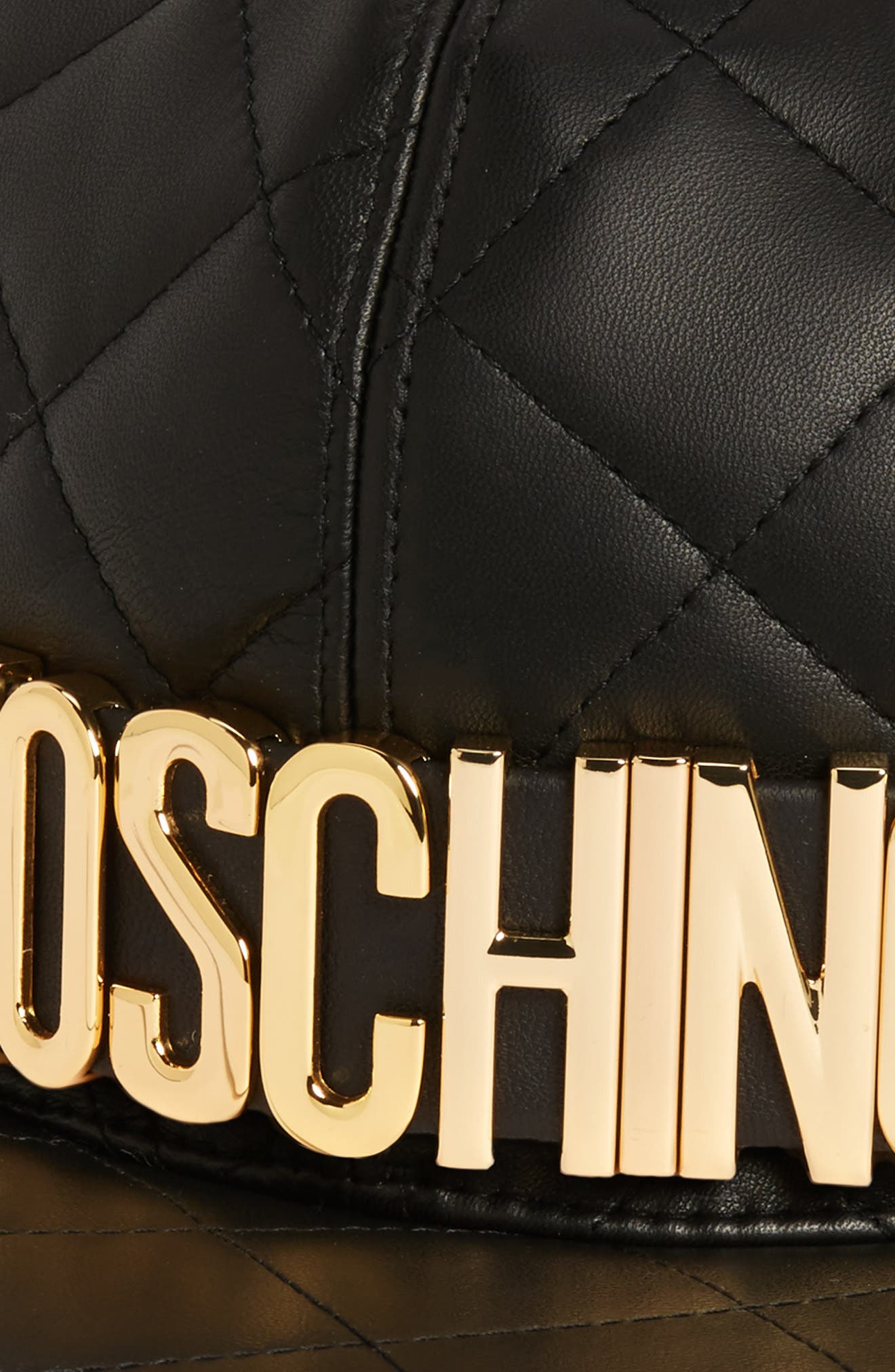 MOSCHINO, Quilted Leather Baseball Cap, Alternate thumbnail 2, color, BLACK