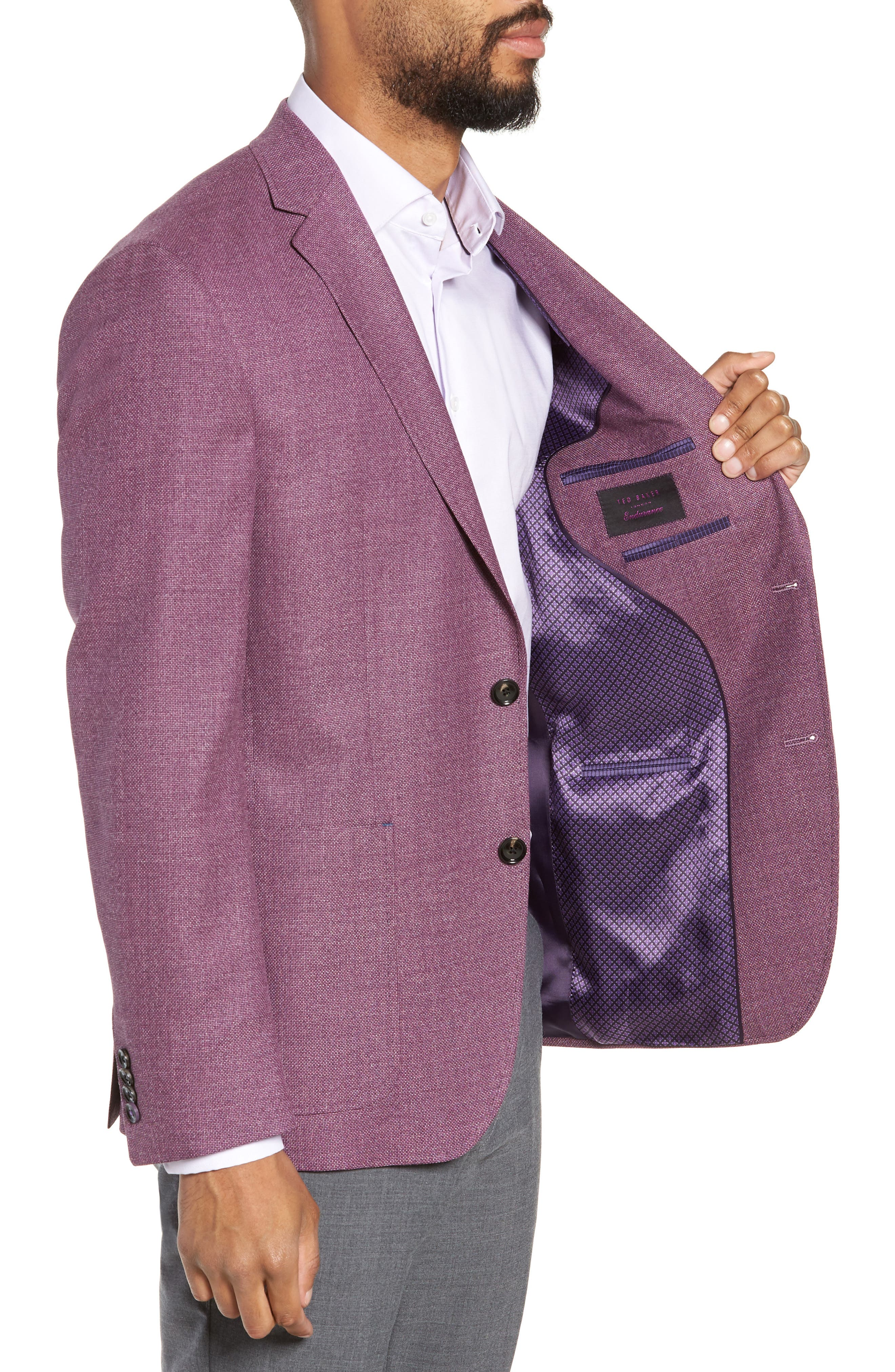TED BAKER LONDON, Kyle Trim Fit Wool Sport Coat, Alternate thumbnail 4, color, BERRY