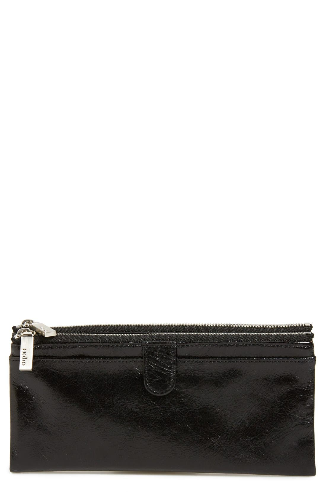 HOBO Taylor Glazed Wallet, Main, color, BLACK