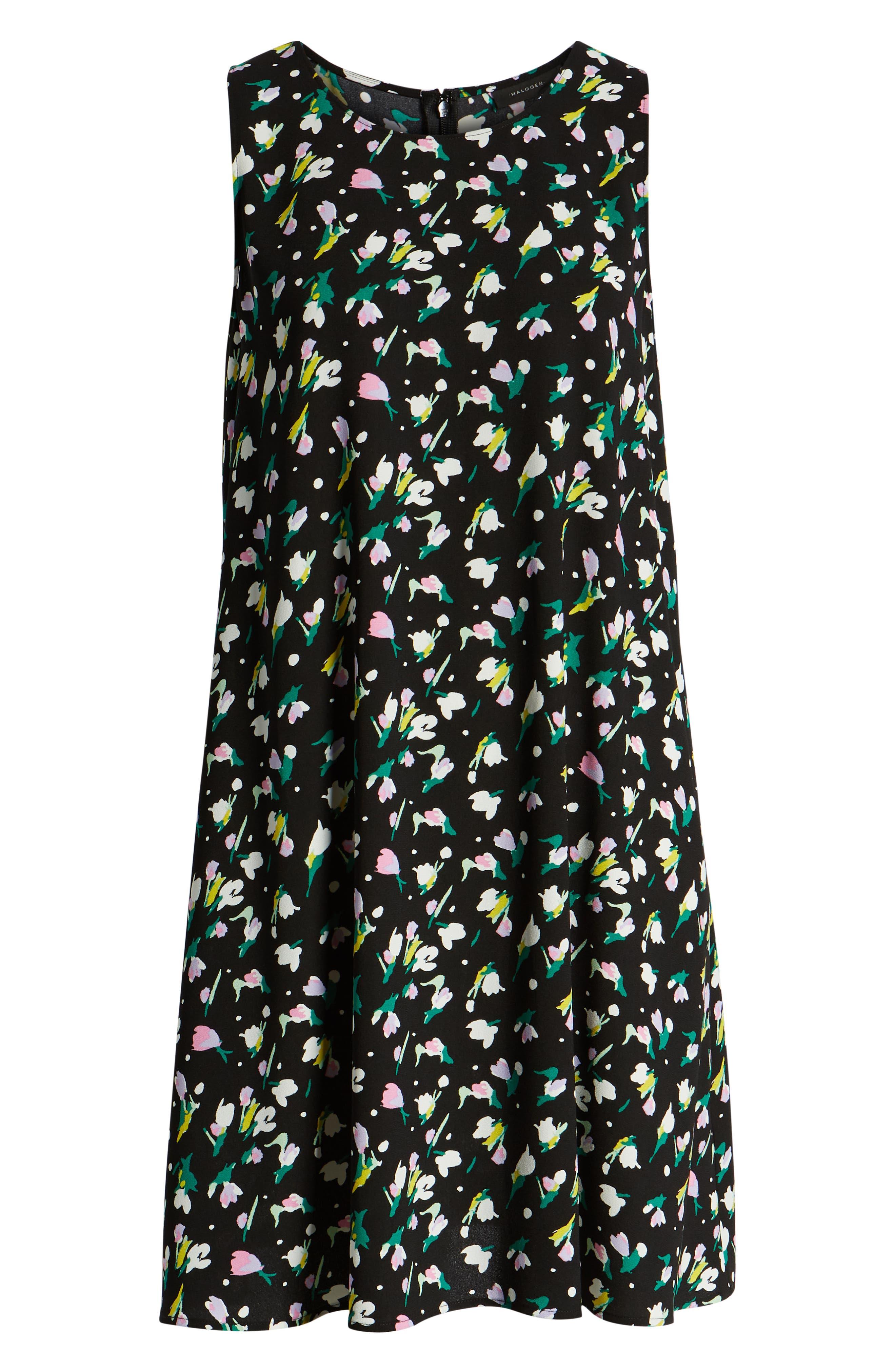HALOGEN<SUP>®</SUP>, A-Line Dress, Alternate thumbnail 7, color, BLACK TINY TULIP PRINT