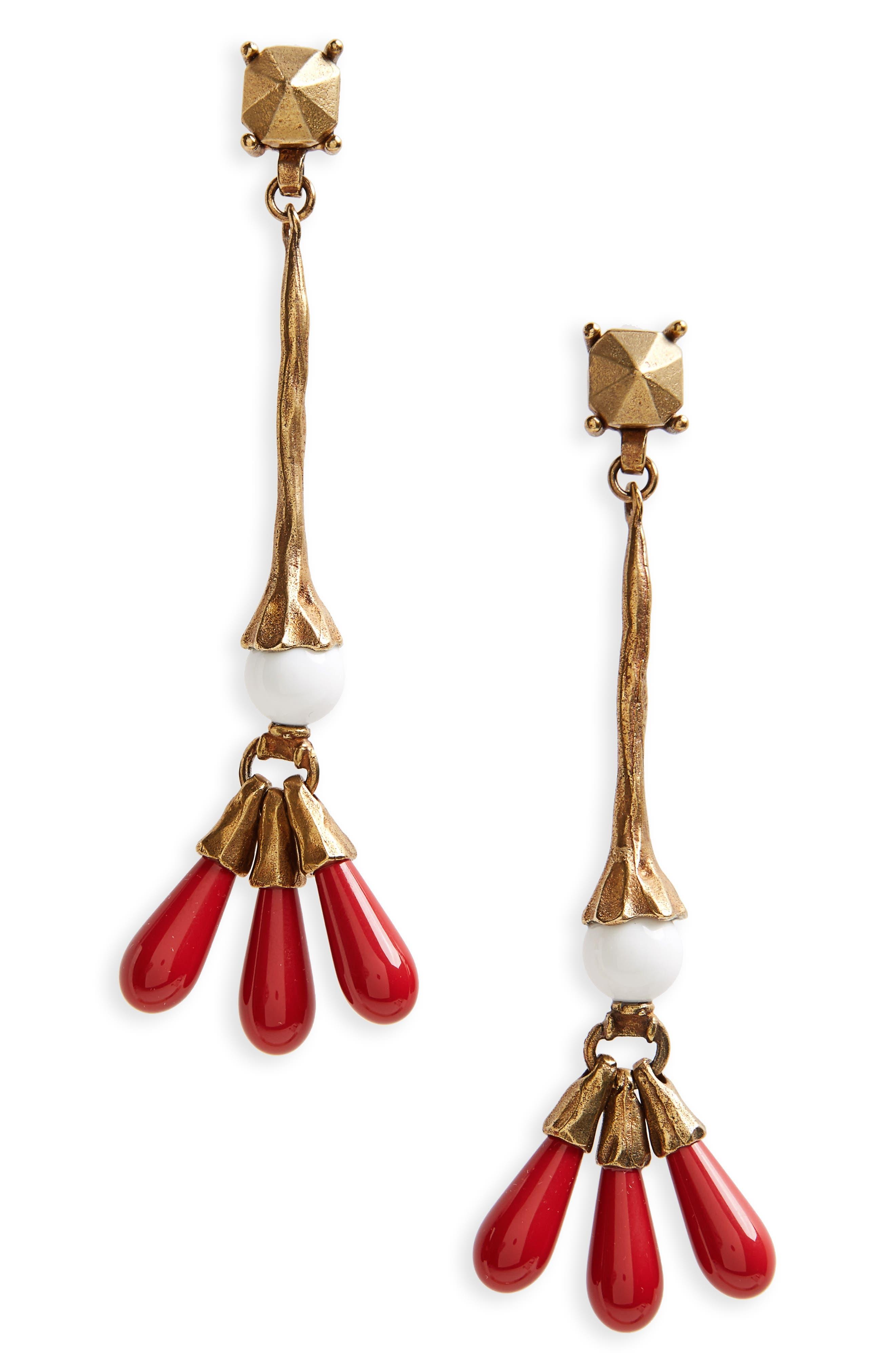 VALENTINO, Drop Earrings, Main thumbnail 1, color, 600
