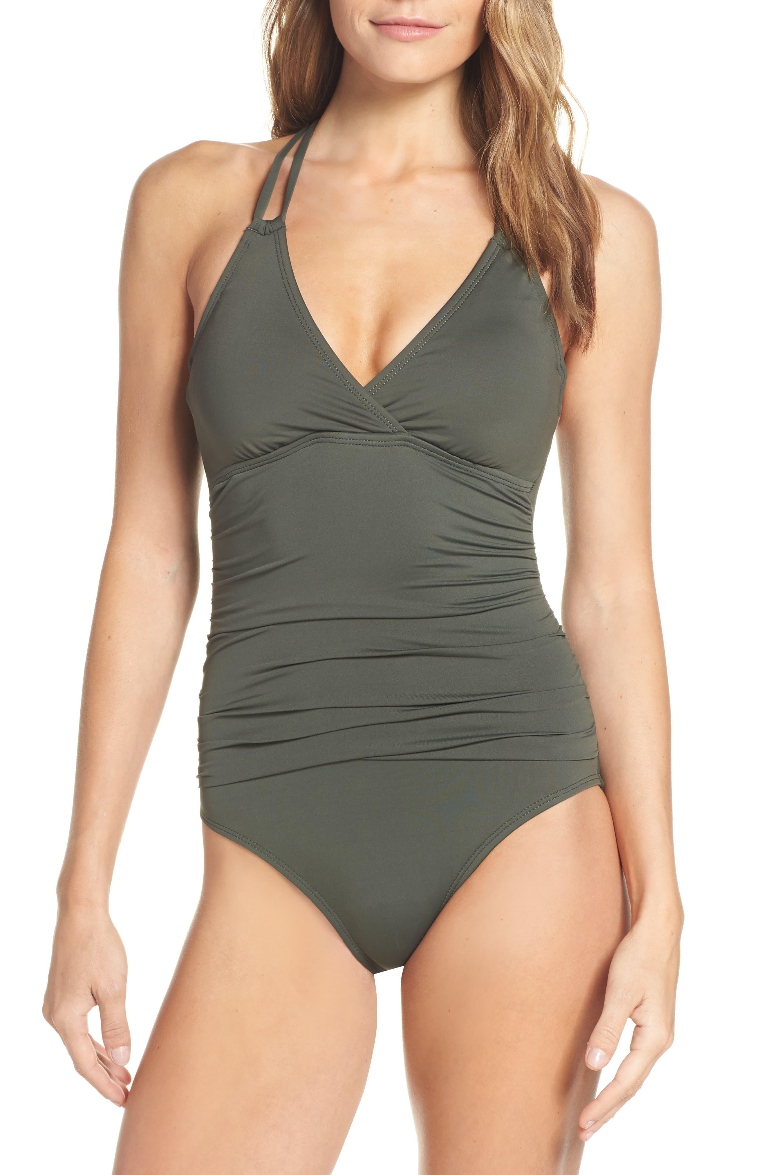 LA BLANCA Island One-Piece Underwire Swimsuit, Main, color, OLIVE