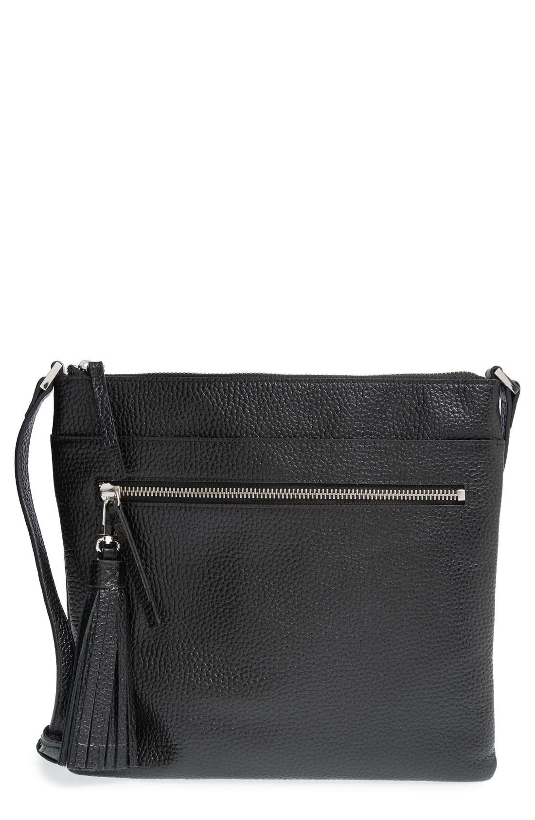 HALOGEN<SUP>®</SUP>, Tasseled Leather Crossbody Bag, Main thumbnail 1, color, 001