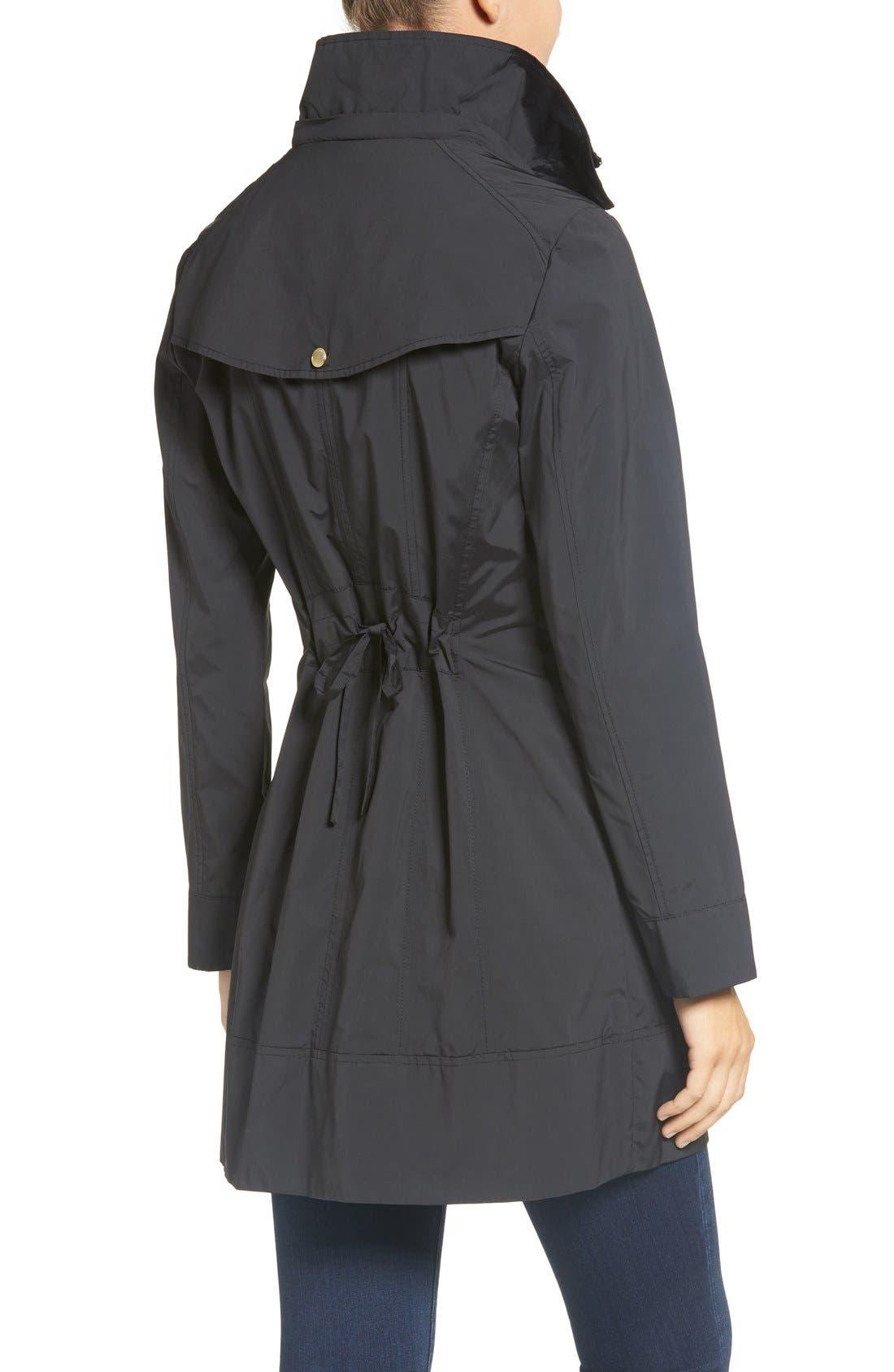 COLE HAAN SIGNATURE, Back Bow Packable Hooded Raincoat, Alternate thumbnail 4, color, BLACK