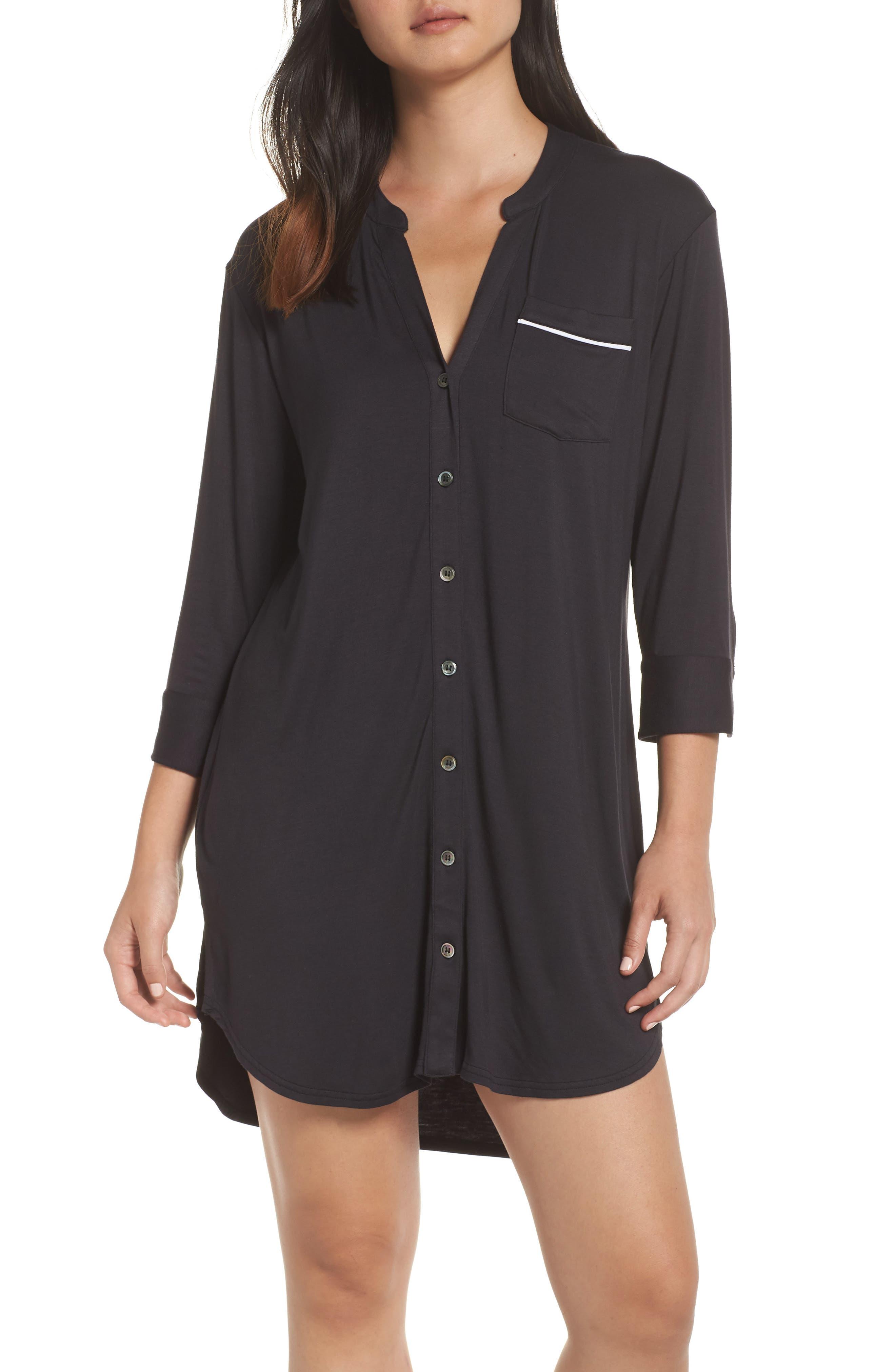 UGG<SUP>®</SUP>, Vivian Sleep Shirt, Main thumbnail 1, color, BLACK