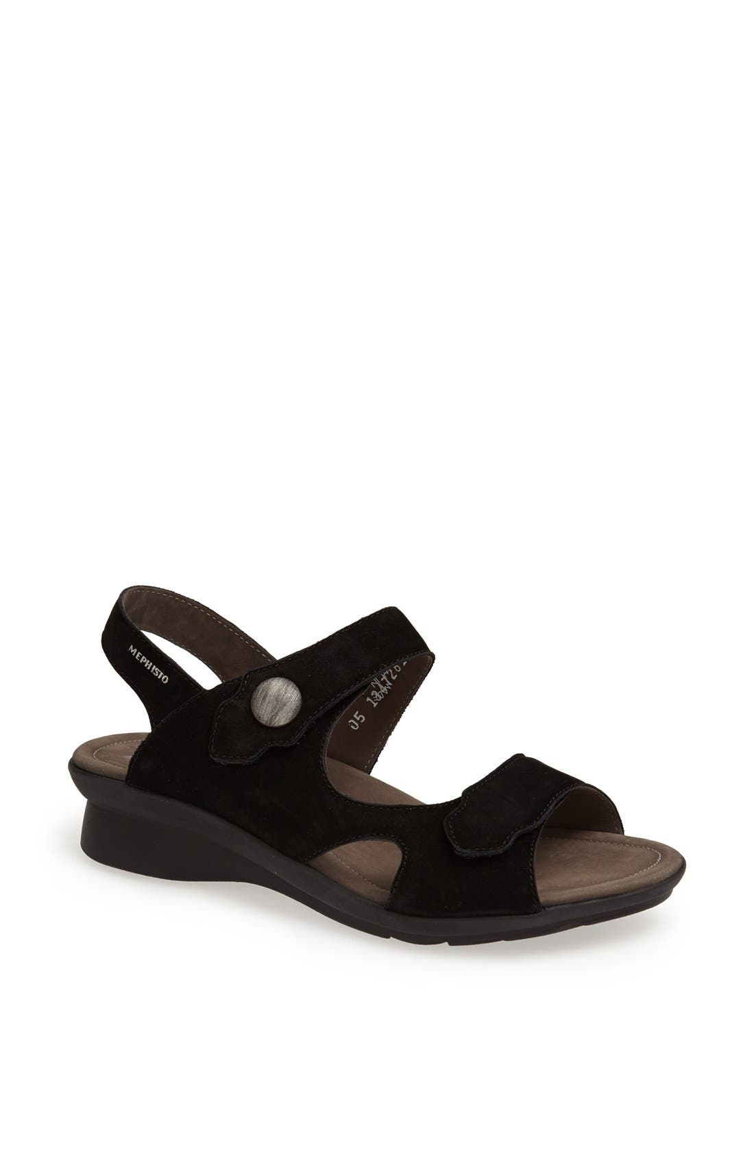 MEPHISTO, 'Prudy' Leather Sandal, Main thumbnail 1, color, BLACK NUBUCK LEATHER