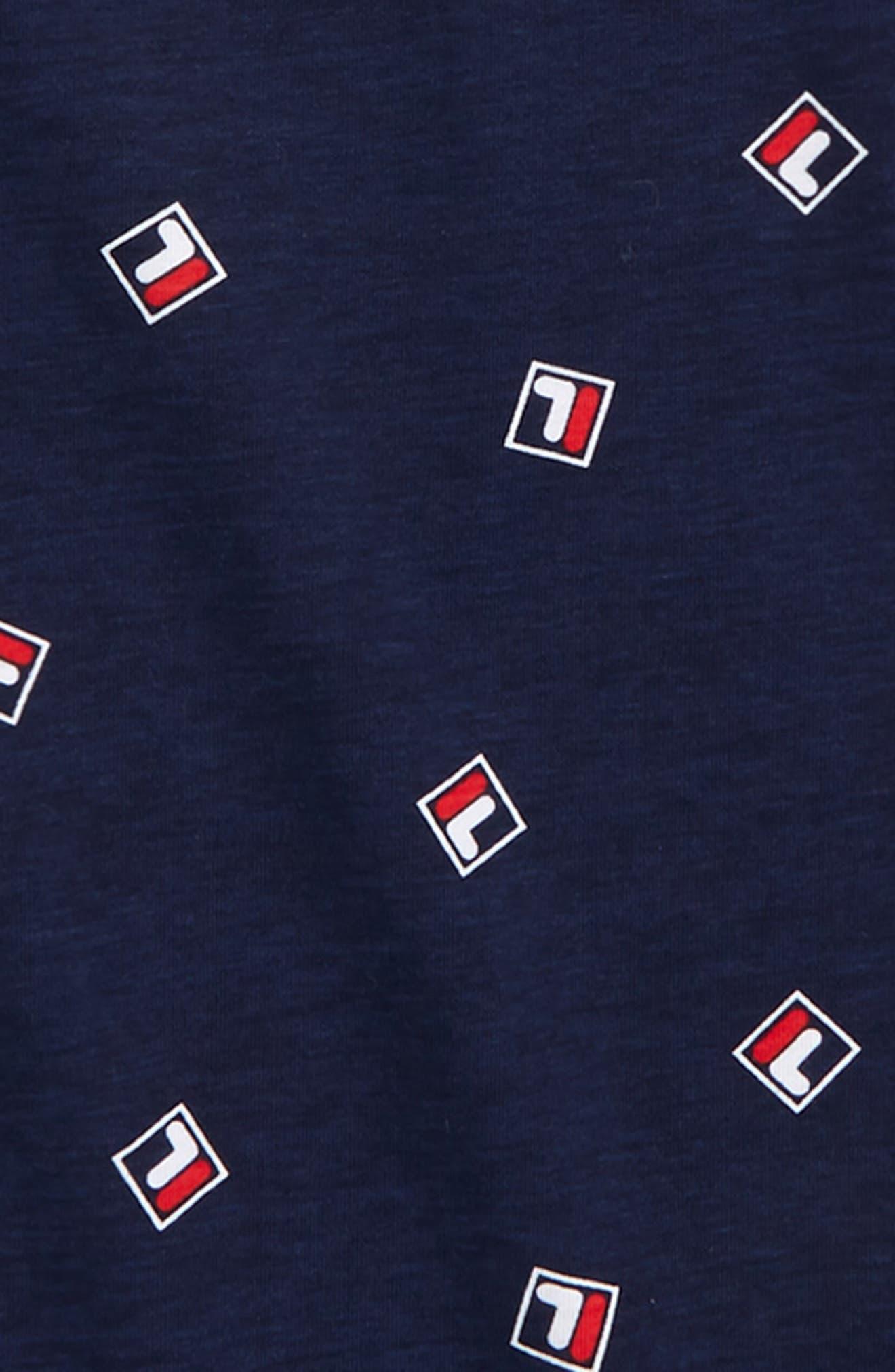 FILA, Logo Print T-Shirt, Alternate thumbnail 2, color, NAVY
