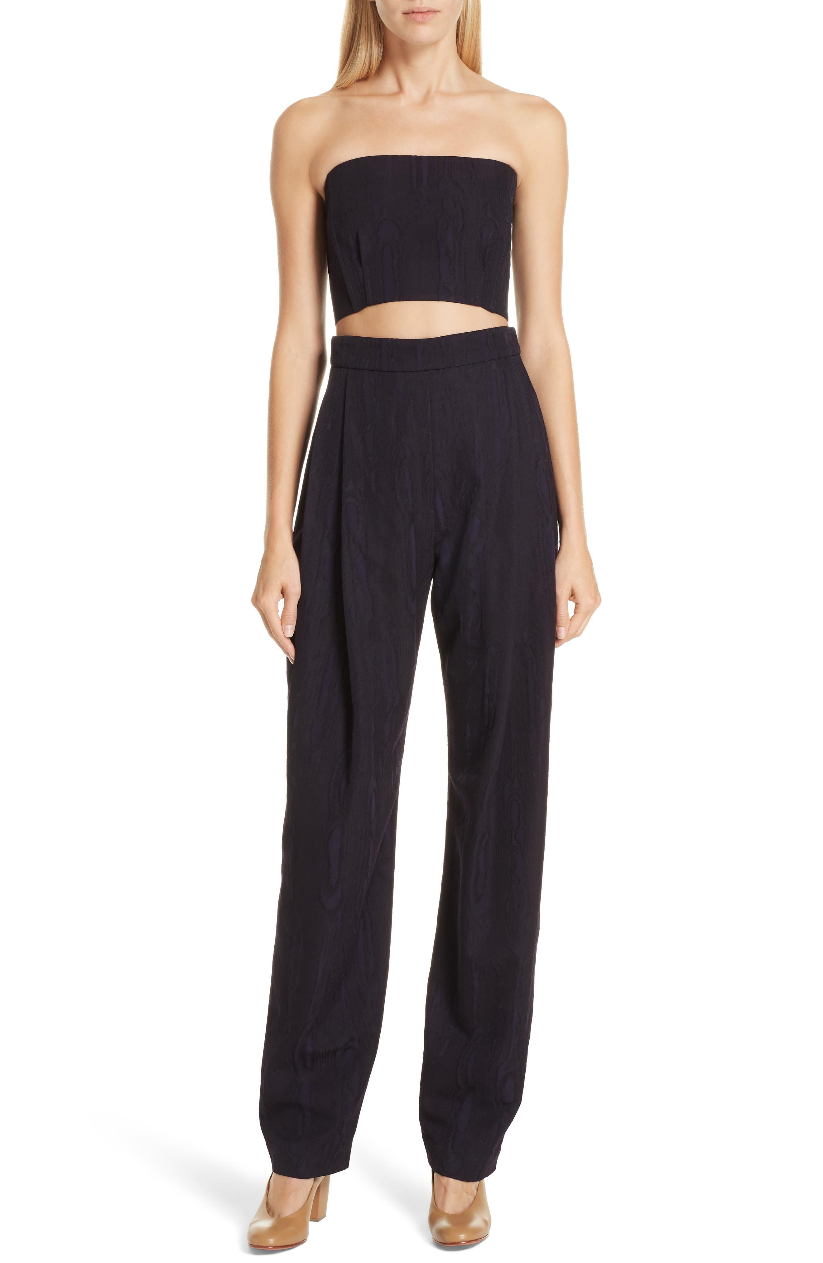 RACHEL COMEY Assert Cutout Wool Blend Moiré Jumpsuit, Main, color, MIDNIGHT