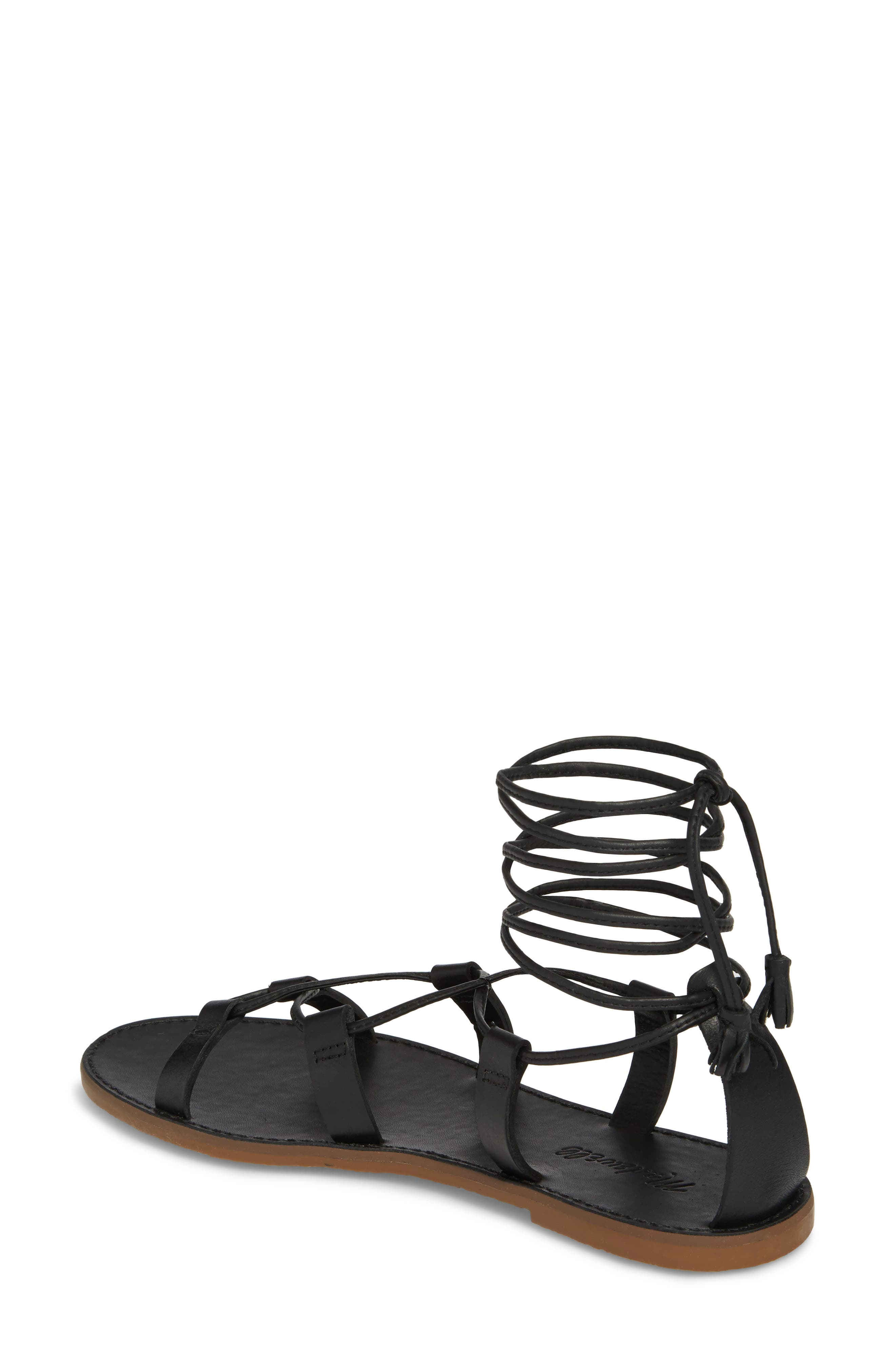 MADEWELL, The Boardwalk Lace-Up Sandal, Alternate thumbnail 2, color, 001